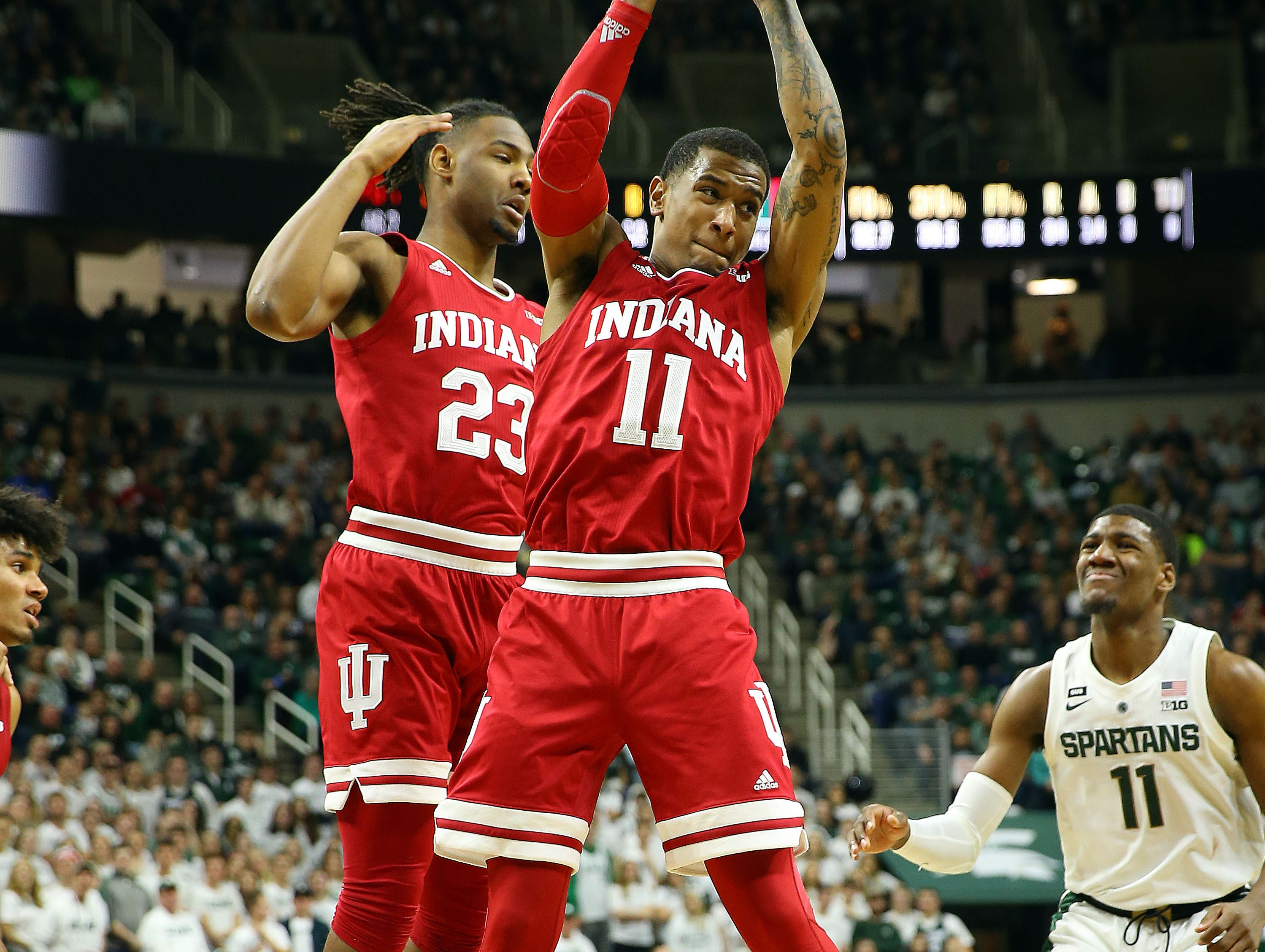 Feb 2, 2019; East Lansing, MI, USA; Indiana Hoosiers guard Devonte Green (11) gets a rebound during the second half of a game against the Michigan State Spartans at the Breslin Center. Mandatory Credit: Mike Carter-USA TODAY Sports
