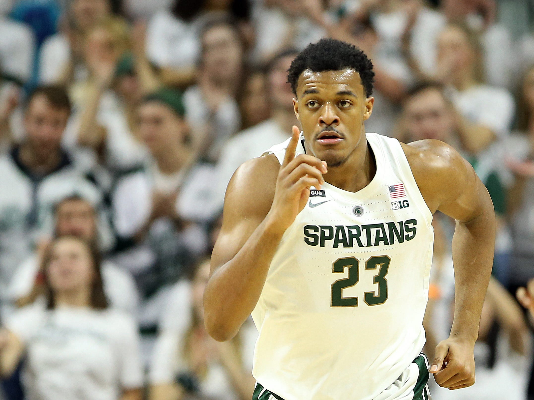 Feb 2, 2019; East Lansing, MI, USA; Michigan State Spartans forward Xavier Tillman (23) reacts during the first against the Indiana Hoosiers at the Breslin Center. Mandatory Credit: Mike Carter-USA TODAY Sports
