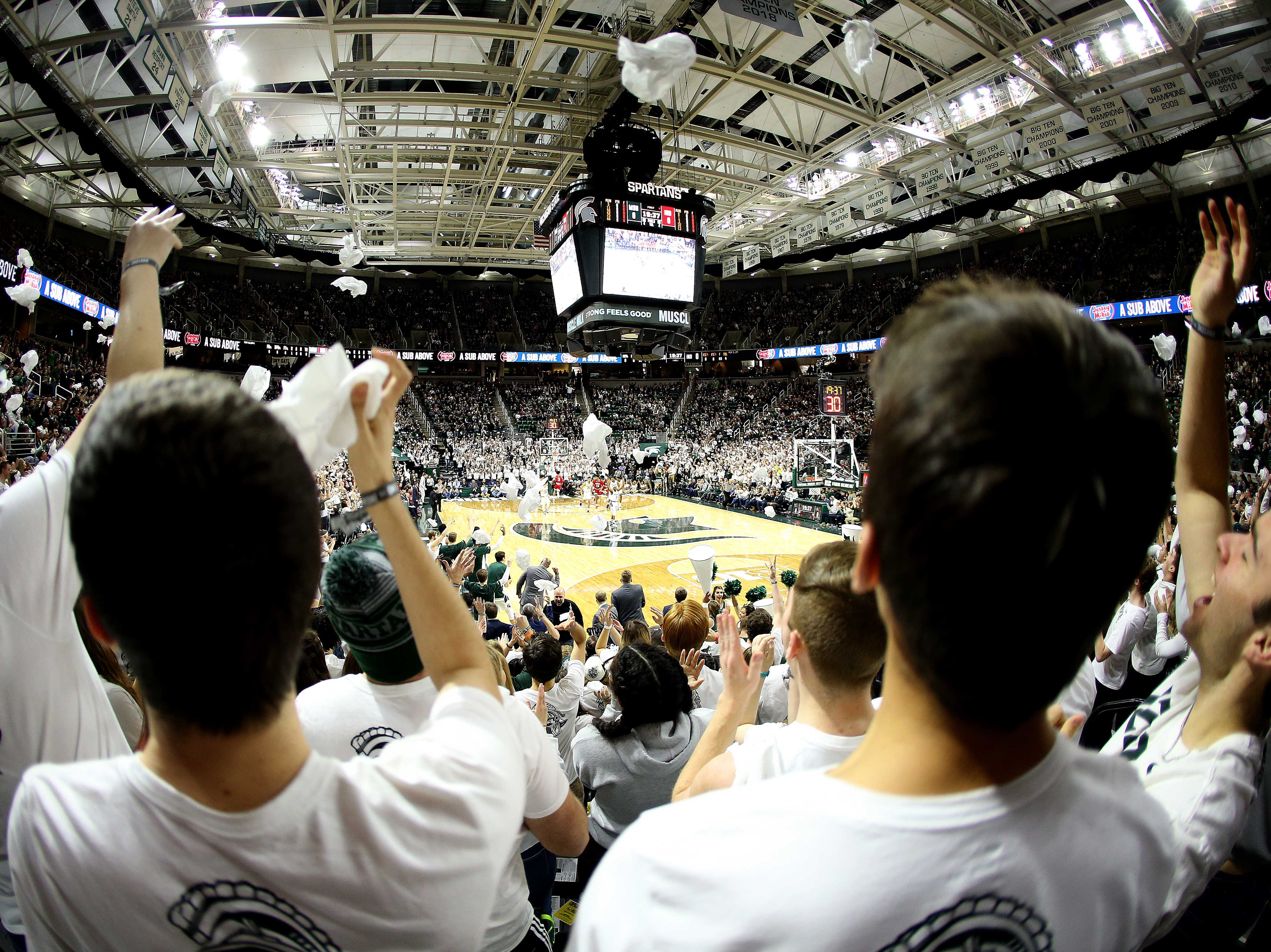Feb 2, 2019; East Lansing, MI, USA; Michigan State Spartans student section performs during the first half  between the Michigan State Spartans and the Indiana Hoosiers at the Breslin Center. Mandatory Credit: Mike Carter-USA TODAY Sports
