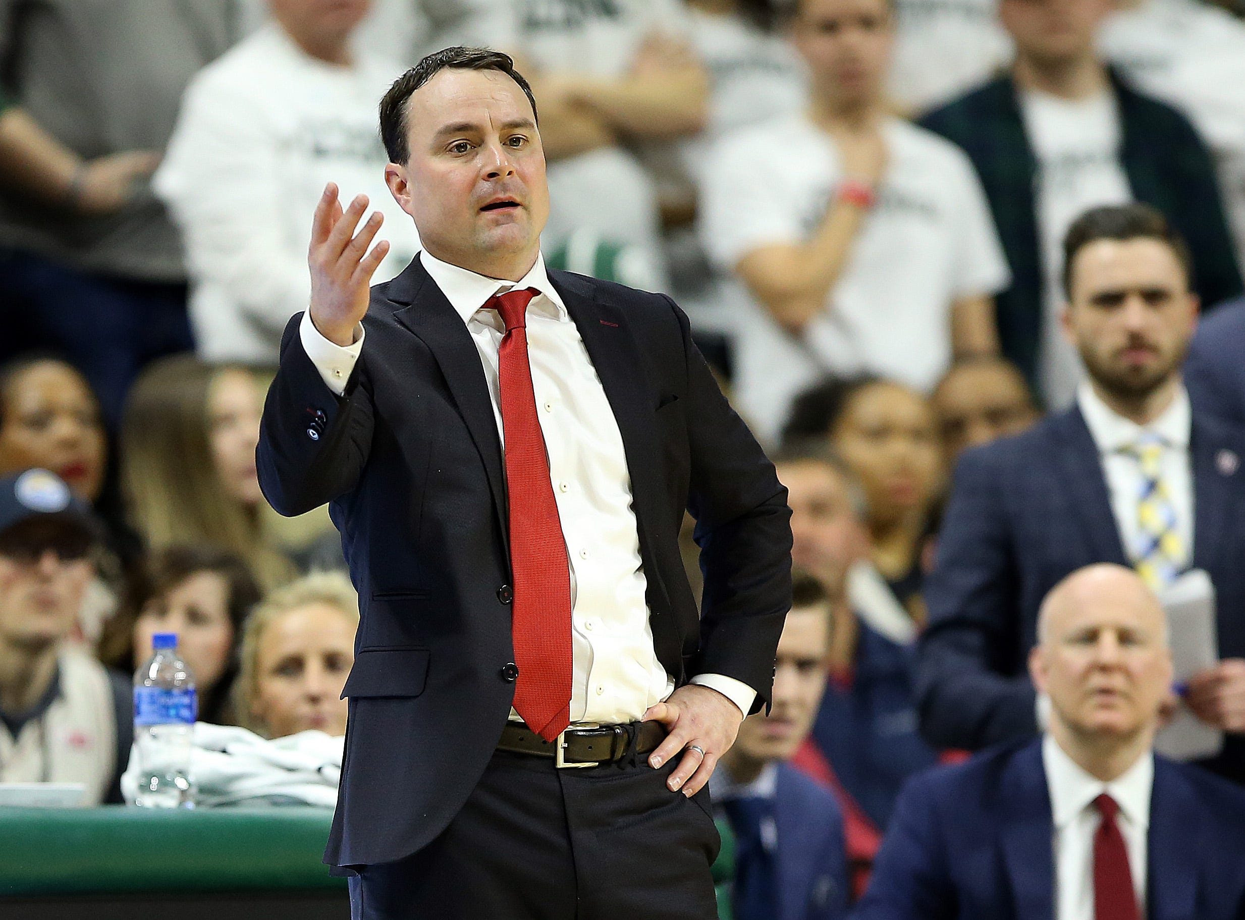 Feb 2, 2019; East Lansing, MI, USA; Indiana Hoosiers head coach Archie Miller gestures during the first half  against the Michigan State Spartans at the Breslin Center. Mandatory Credit: Mike Carter-USA TODAY Sports