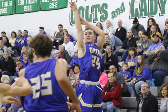 Ontario's Kolten Kurtz drills a 3-pointer in the Warriors' win over Clear Fork last week.