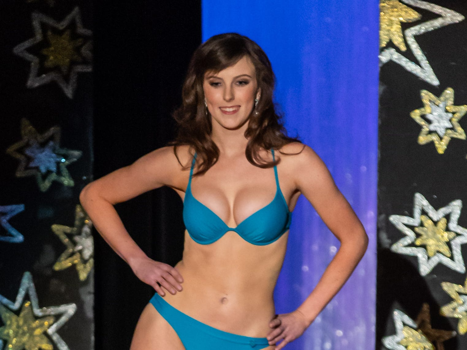 Erin Zielinski, sponsored by the St. Francis Civic Association, competes in the swimsuit segment of the 55th annual Miss St. Francis Scholarship Competition at St. Thomas More High School on Saturday, Feb. 2, 2019.