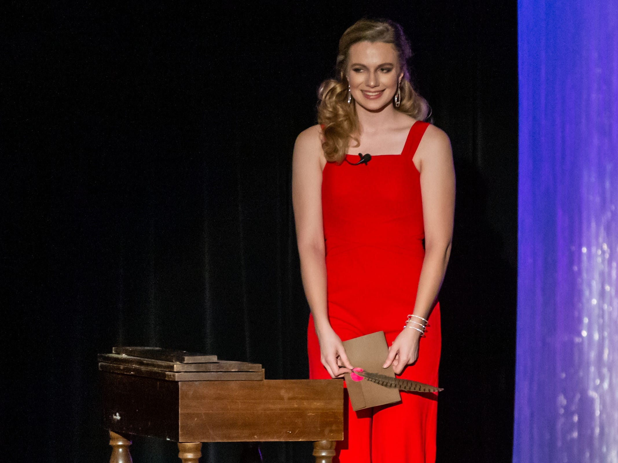 Katelyn Pomianek, sponsored by the St. Francis Lions Club, competes in the talent segment of the 55th annual Miss St. Francis Scholarship Competition at St. Thomas More High School on Saturday, Feb. 2, 2019.