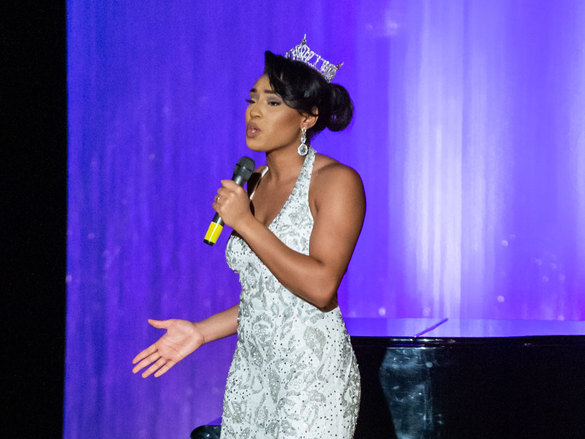 Alexa Biami, Miss St. Francis 2018, performs a song during the 55th annual Miss St. Francis Scholarship Competition at St. Thomas More High School on Saturday, Feb. 2, 2019.