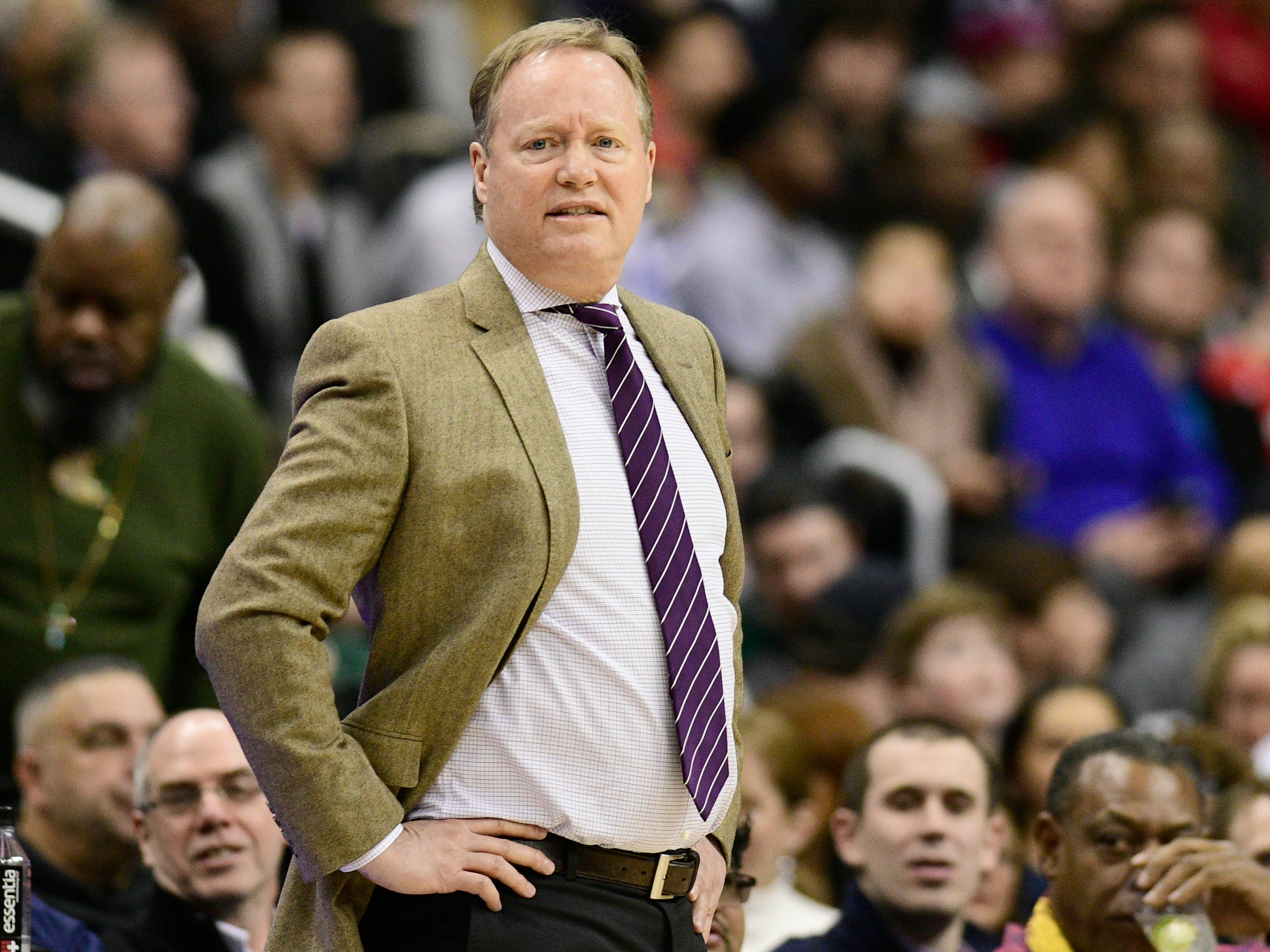 Bucks head coach Mike Budenholzer watches his team take on the Wizards Saturday night.