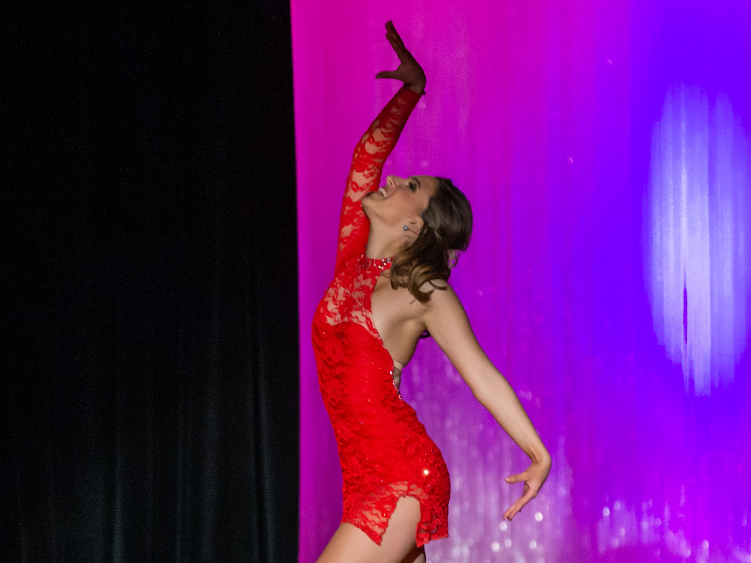 Sarah Bittner, sponsored by PDQ Tooling, competes in the Swimsuit talent of the 55th annual Miss St. Francis Scholarship Competition at St. Thomas More High School on Saturday, Feb. 2, 2019. Sarah won the competition and was crowned Miss St. Francis 2019.