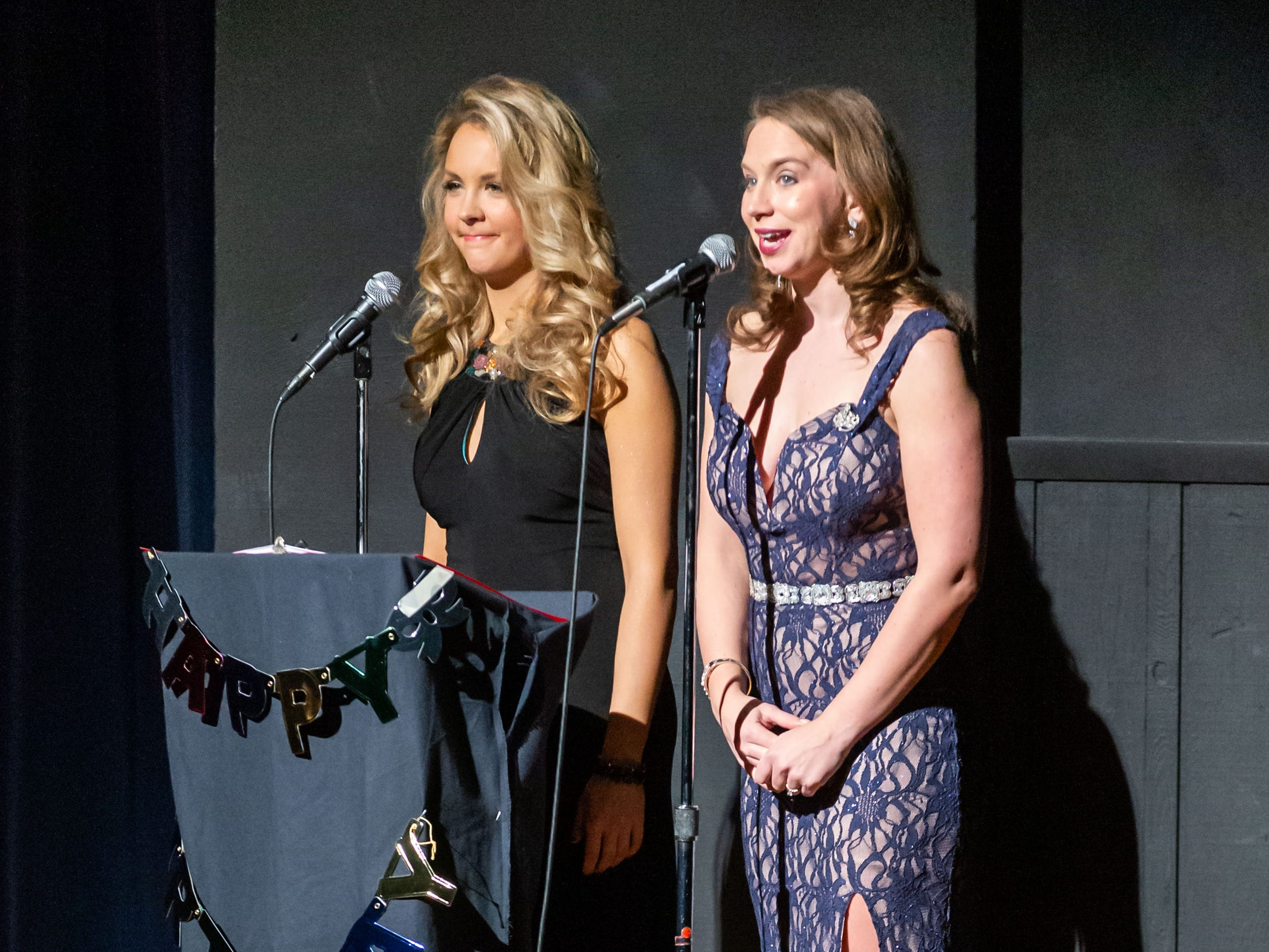 Emcee Gina Miliacca (left), Miss St. Francis 2016, and featured vocalist Elyse Wojciechowski-Scheeler, Miss St. Francis 2008, introduce the judges during the 55th annual Miss St. Francis Scholarship Competition at St. Thomas More High School on Saturday, Feb. 2, 2019. Miss St. Francis wins a $3,000.00 scholarship to the college of her choice, an official local crown, flowers, scepter, and many other prizes.  She competes in the Miss Wisconsin pageant in Oshkosh in June and spends a year representing her title at local events.
