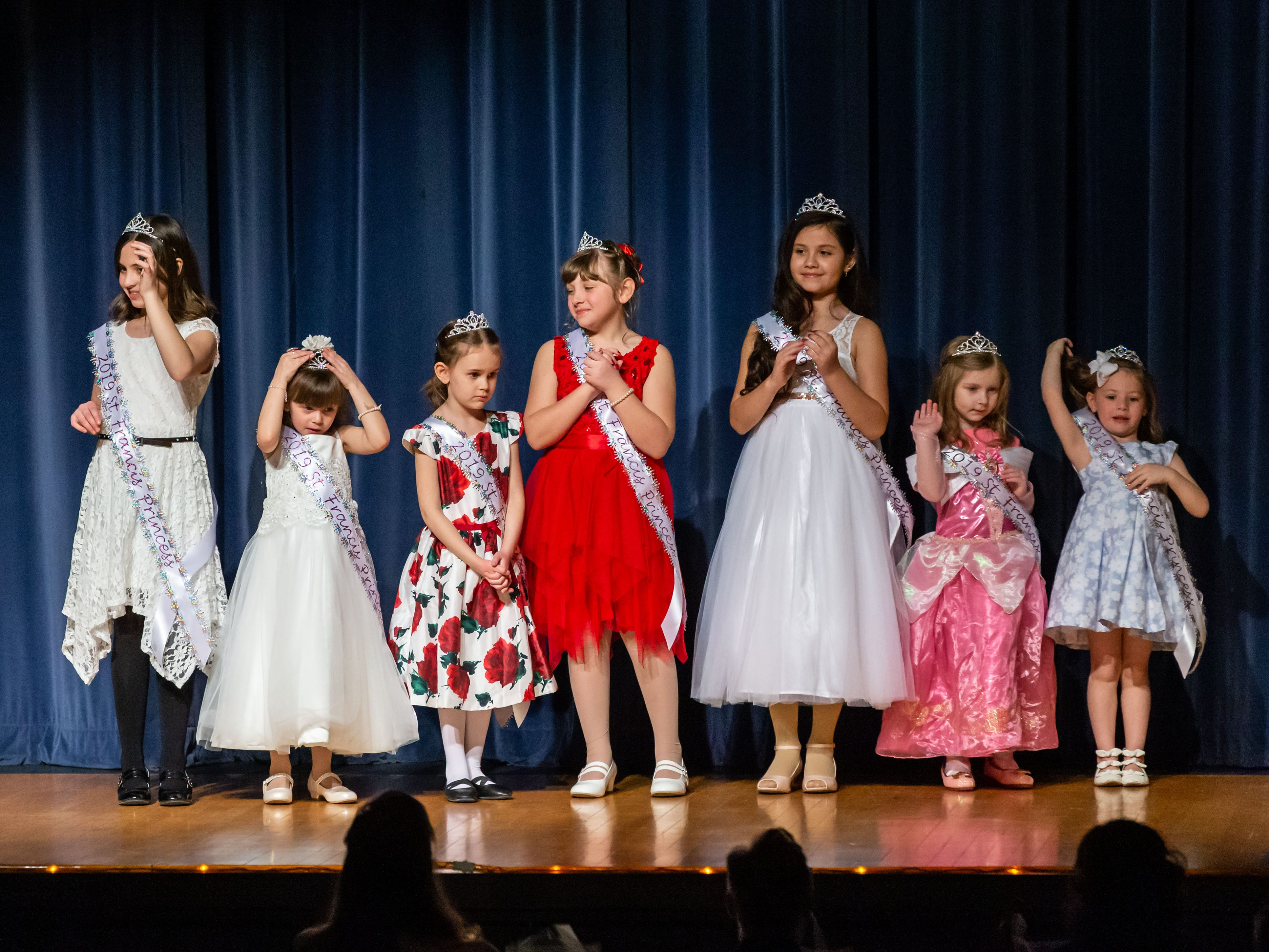 The 2019 St. Francis Princesses are introduced during the 55th annual Miss St. Francis Scholarship Competition at St. Thomas More High School on Saturday, Feb. 2, 2019. Miss St. Francis wins a $3,000.00 scholarship to the college of her choice, an official local crown, flowers, scepter, and many other prizes.  She competes in the Miss Wisconsin pageant in Oshkosh in June and spends a year representing her title at local events.