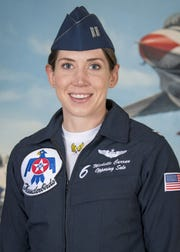 Capt. Michelle Curran is the Opposing Solo Pilot for the U.S. Air Force Air Demonstration Squadron, flying the No. 6 jet.