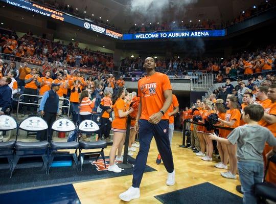 Auburn center Austin Wiley (50) walks on to the court at Auburn Arena in Auburn, Ala., on Saturday, Feb. 2, 2019. Auburn defeated Alabama 84-63.