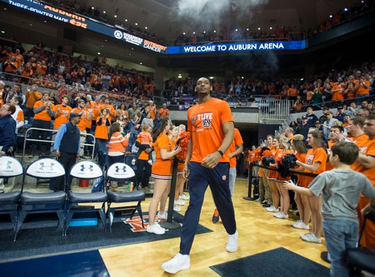 Auburn center Austin Wiley (50) walks on to the court at Auburn Arena in Auburn, Ala., on Saturday, Feb. 2, 2019. Auburn defeated Alabama 84-63.