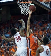 Auburn forward Chuma Okeke (5) goes up for a layup over Alabama guard Tevin Mack (34) at Auburn Arena in Auburn, Ala., on Saturday, Feb. 2, 2019. Auburn leads Alabama 48-28 at halftime.