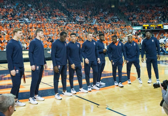 A group of early enrollee football players are acknowledged during the Auburn-Alabama basketball game at Auburn Arena in Auburn, Ala., on Saturday, Feb. 2, 2019. Auburn defeated Alabama 84-63.