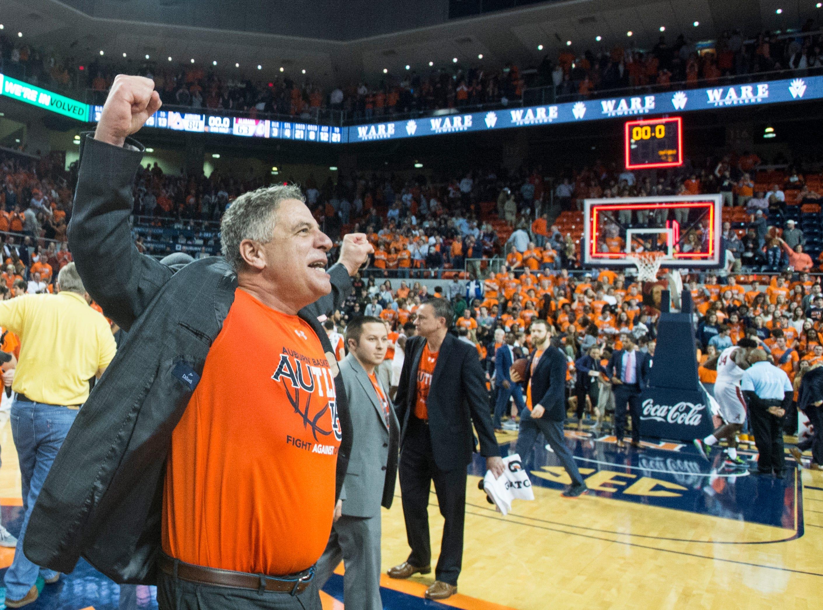 Auburn head coach Bruce Pearl reacts after the game at Auburn Arena in Auburn, Ala., on Saturday, Feb. 2, 2019. Auburn defeated Alabama 84-63.
