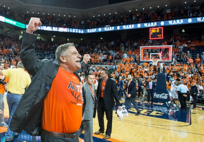 Auburn head coach Bruce Pearl reacts after the game at Auburn Arena in Auburn, Ala., on Saturday, Feb. 2, 2019. Auburn defeated Alabama 84-63.