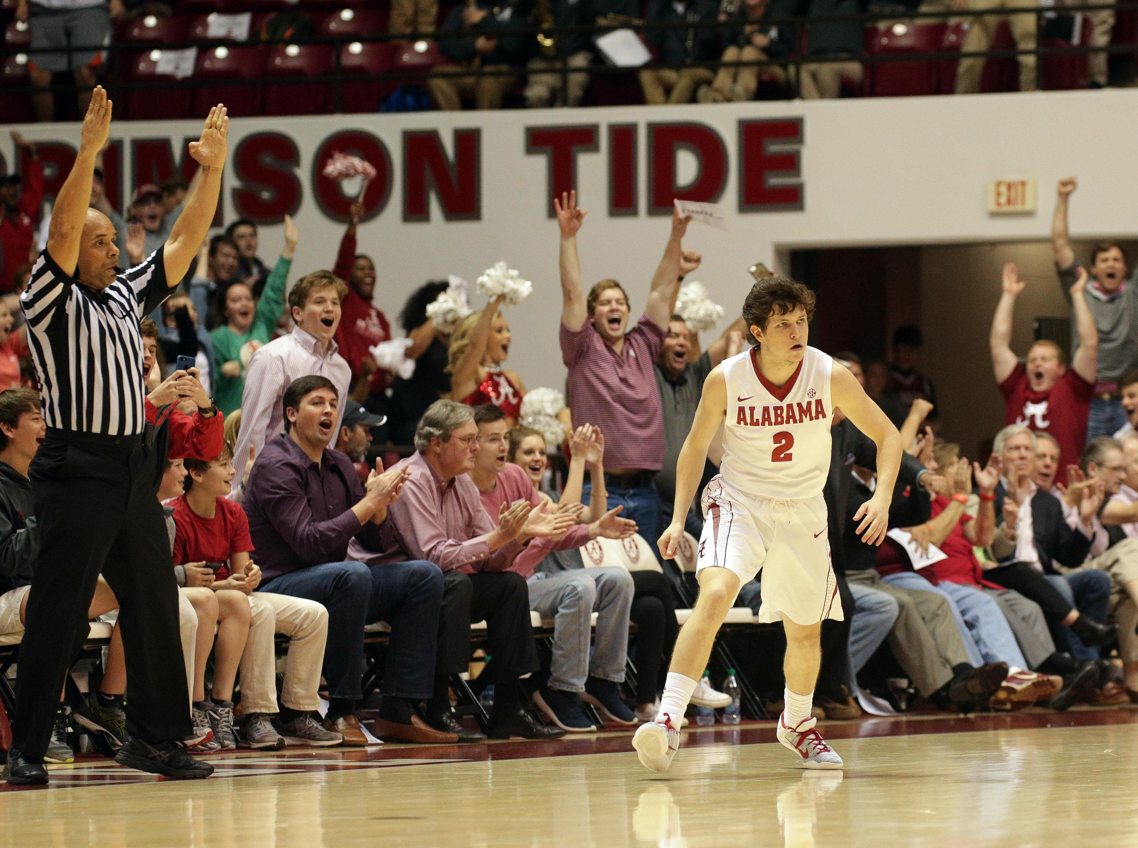 Mar 1, 2017; Tuscaloosa, AL, USA; The crowd reacts after Alabama Crimson Tide guard Lawson Schaffer (2) hits a 3 pointer late in the first half against Mississippi Rebels at Coleman Coliseum. Mandatory Credit: Marvin Gentry-USA TODAY Sports