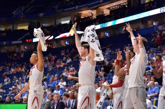 Mar 9, 2017; Nashville, TN, USA; Alabama Crimson Tide bench celebrates their teammate Alabama Crimson Tide guard Lawson Schaffer (2) (not pictured) scoring a three point shot against the Mississippi State Bulldogs during the second half of game four of the SEC Conference Tournament at Bridgestone Arena. Alabama won 73-58. Mandatory Credit: Jim Brown-USA TODAY Sports