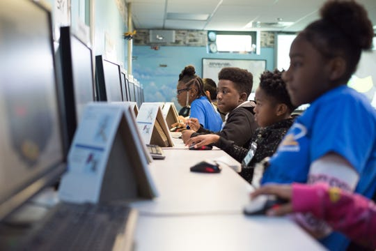 Fifth-grade students from the River Region work with a 3D modeling software, Jan. 22, 2019, at Maxwell Air Force Base's STARBASE. Being structured around STEM, students attending STARBASE are given the opportunity to learn basic programming skills, measurements, Newton's laws-of-physics and more.
