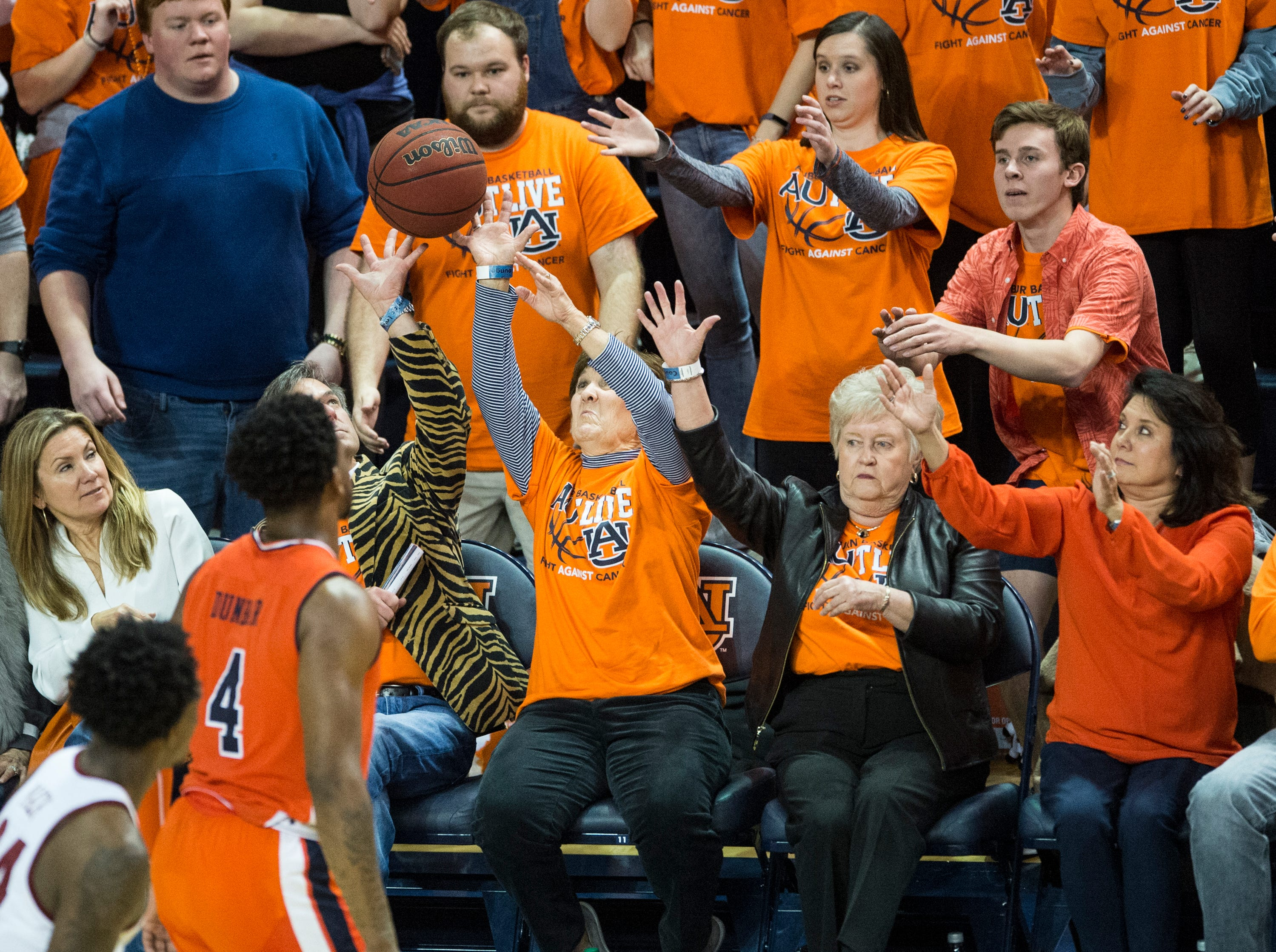 The ball goes into the crowd at Auburn Arena in Auburn, Ala., on Saturday, Feb. 2, 2019. Auburn defeated Alabama 84-63.