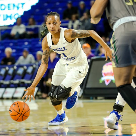 MTSU guard A'Queen Hayes dribbles to the basket during the Lady Raiders' 60-44 win over UAB on Feb. 2, 2019.