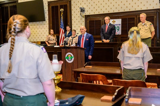 Retired Army Lt. Gen. and Eagle Scout Keith Huber, MTSU's senior advisor for veterans and leadership initiatives, spoke to scouts in Troop 2019 about the significance of the ceremony, saying the girls, as founding members of Troop 2019, were making history with their commitment to be among the first girls to join Scouts BSA.