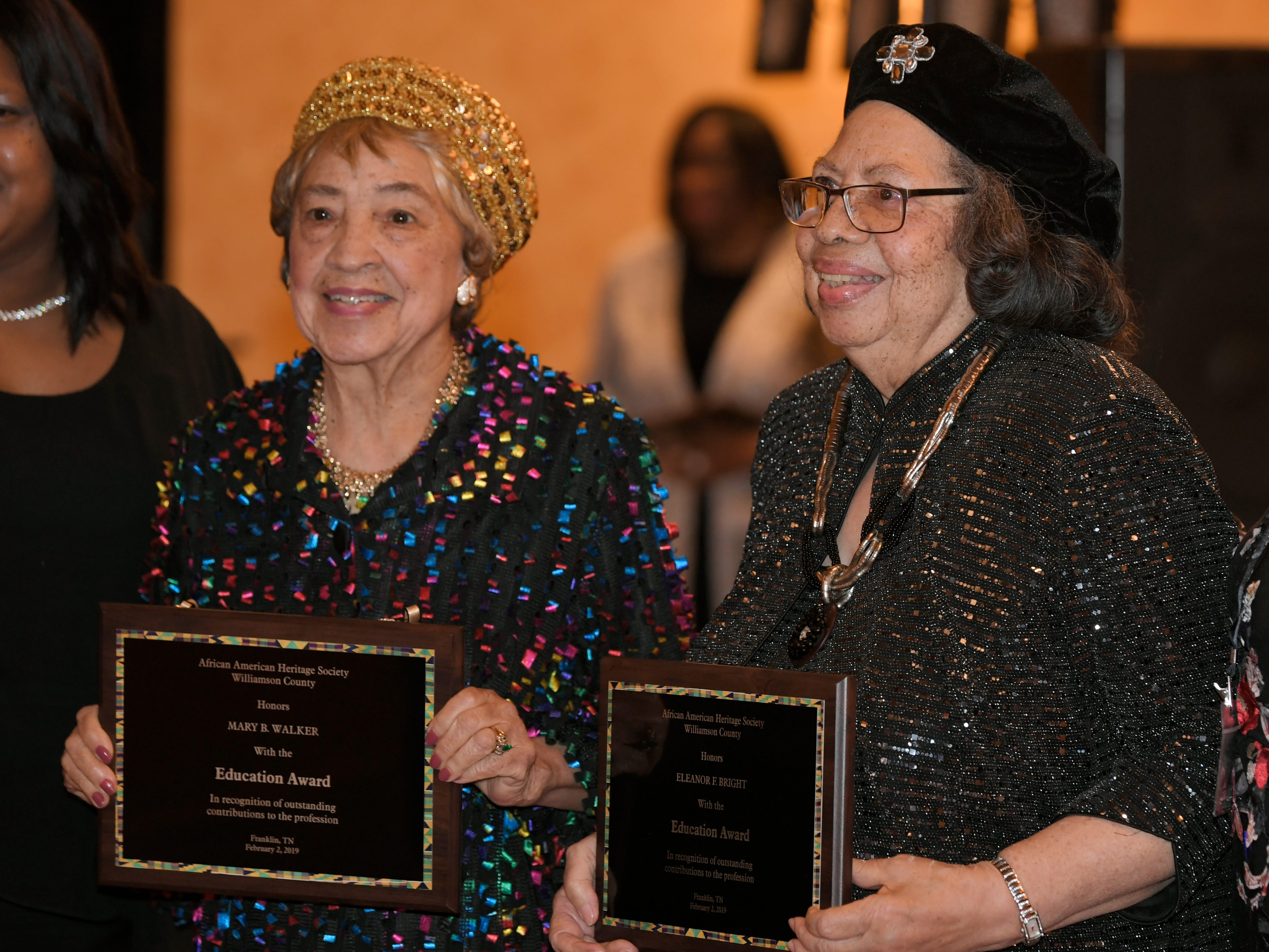 Sisters Mary Walker and Eleanor Bright were honored at the African American Heritage Society's 18th Annual Black Tie Affair at the Embassy Suites in Franklin on Sat., Feb. 2, 2019.