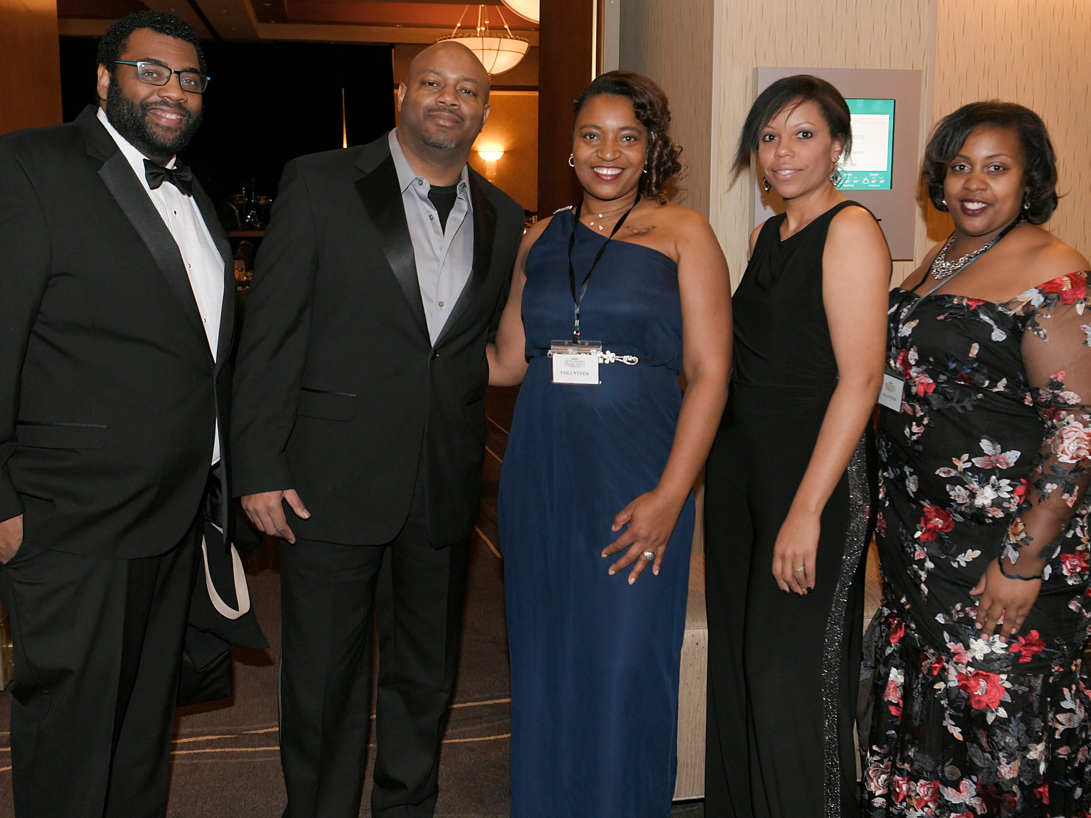 Reico Carter, Tim Johnson, Sonya Johnson, Samantha DeGrasse and Ashley Patterson at the African American Heritage Society's 18th Annual Black Tie Affair at the Embassy Suites in Franklin on Sat., Feb. 2, 2019.