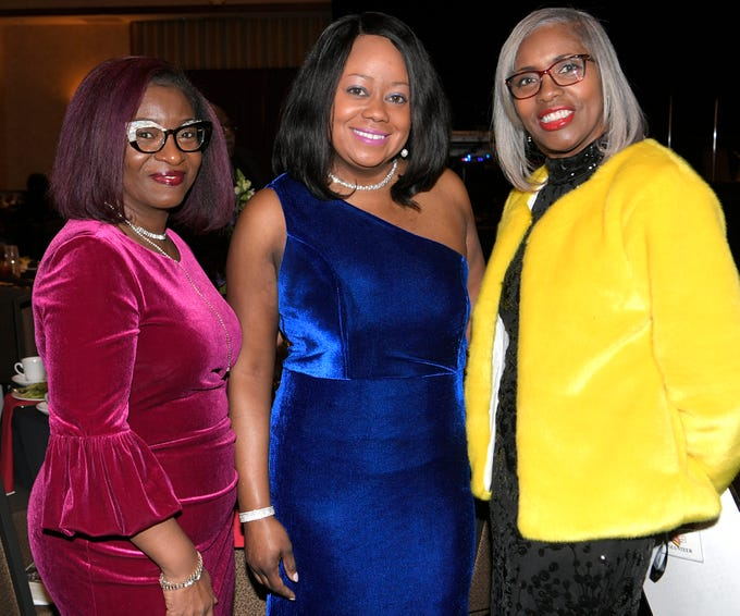Bethel Robison, Laquita Stribling and Darlene Morton at the African American Heritage Society's 18th Annual Black Tie Affair at the Embassy Suites in Franklin on Sat., Feb. 2, 2019.