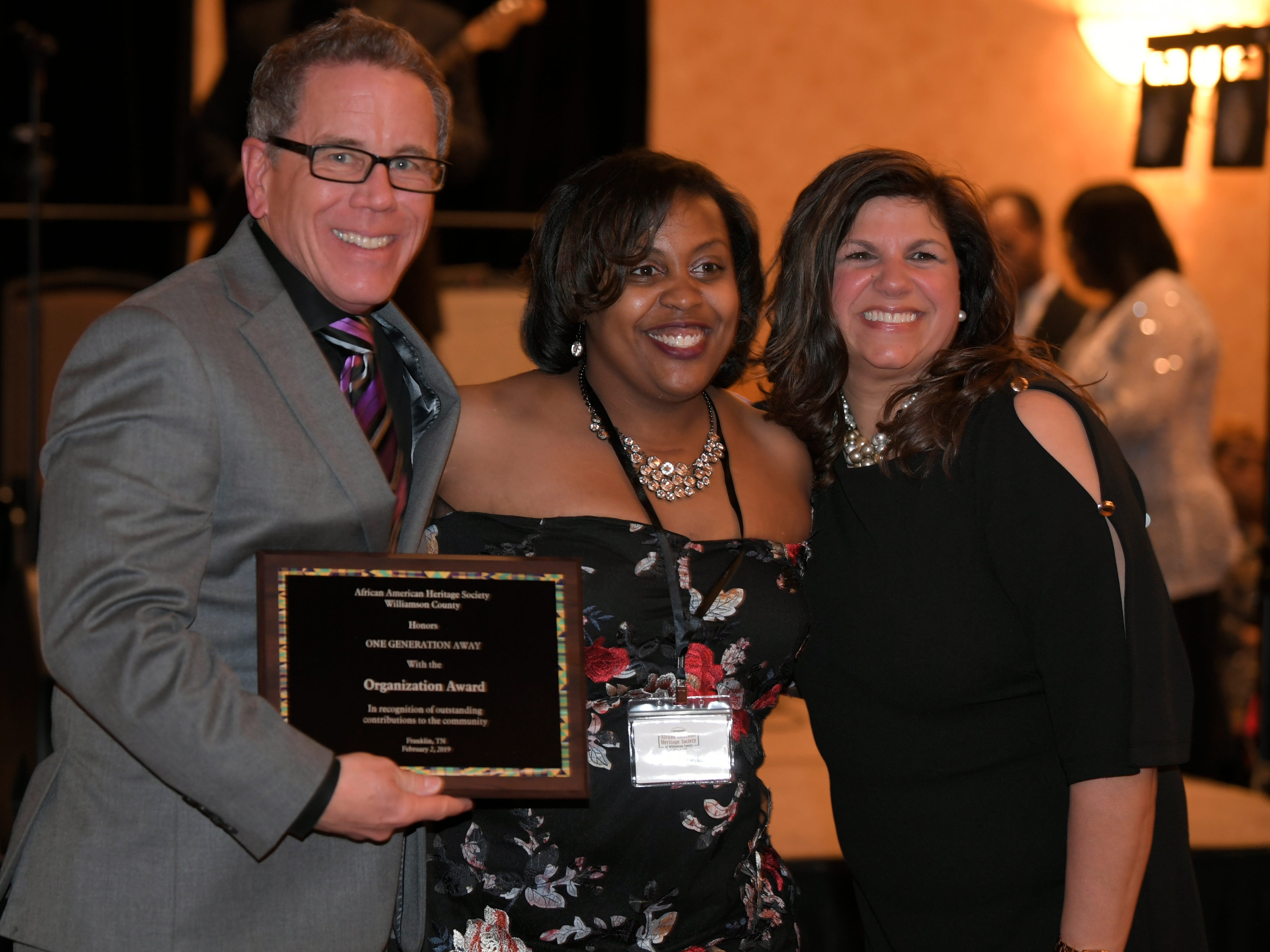 One Generation Away founder Chris Whitney and his wife, Elaine, were honored at the African American Heritage Society's 18th Annual Black Tie Affair at the Embassy Suites in Franklin on Sat., Feb. 2, 2019.