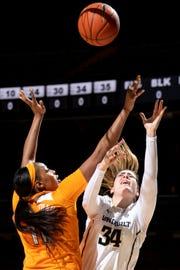 Vanderbilt forward Mariella Fasoula (34) battles for the ball with UT center Kasiyahna Kushkituah (11) during the first half at Memorial Gym in Nashville, Tenn., Sunday, Feb. 3, 2019.