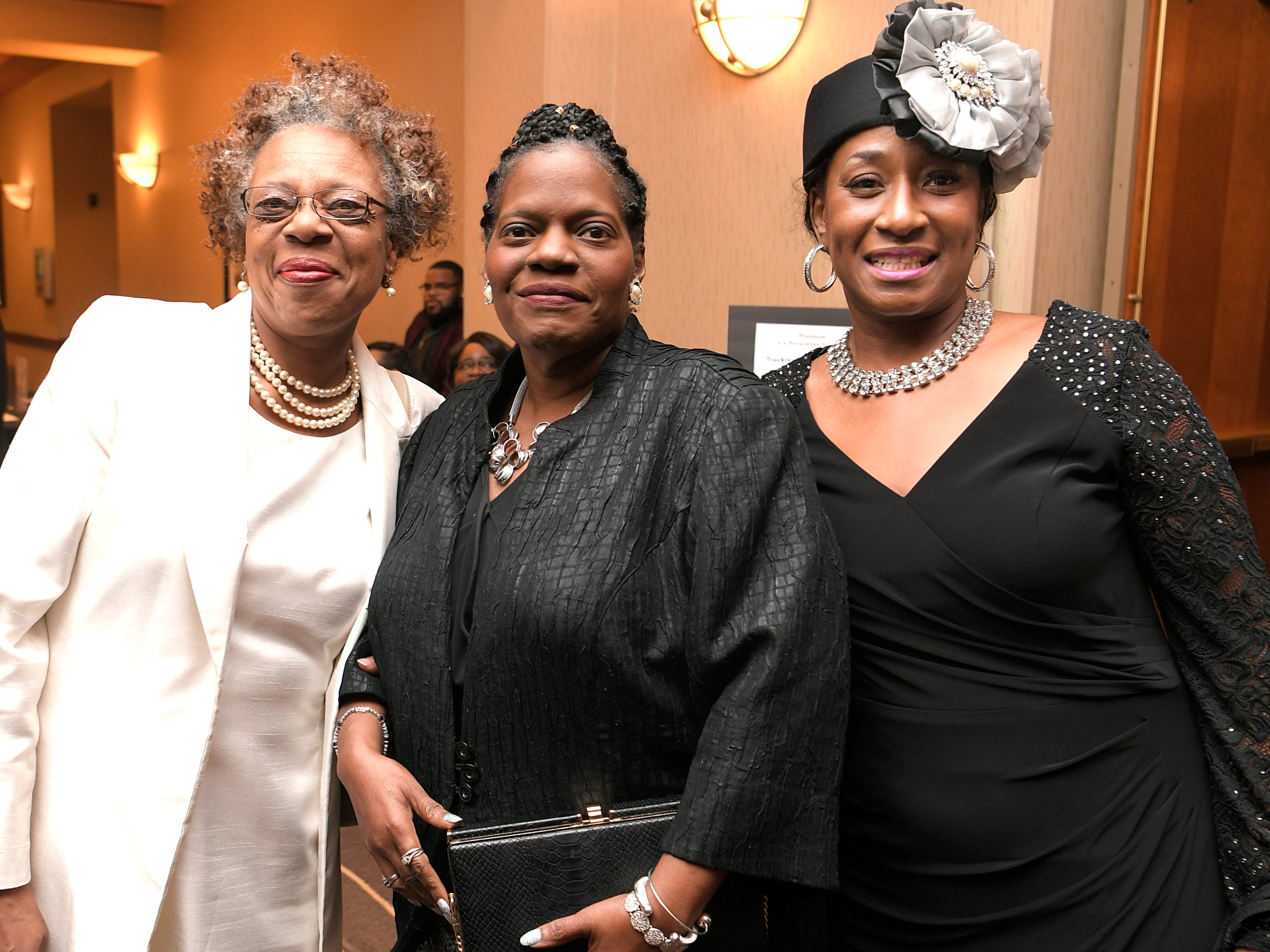 Charlene Harrison, Monic Oglesby and Melanie Officer at the African American Heritage Society's 18th Annual Black Tie Affair at the Embassy Suites in Franklin on Sat., Feb. 2, 2019.