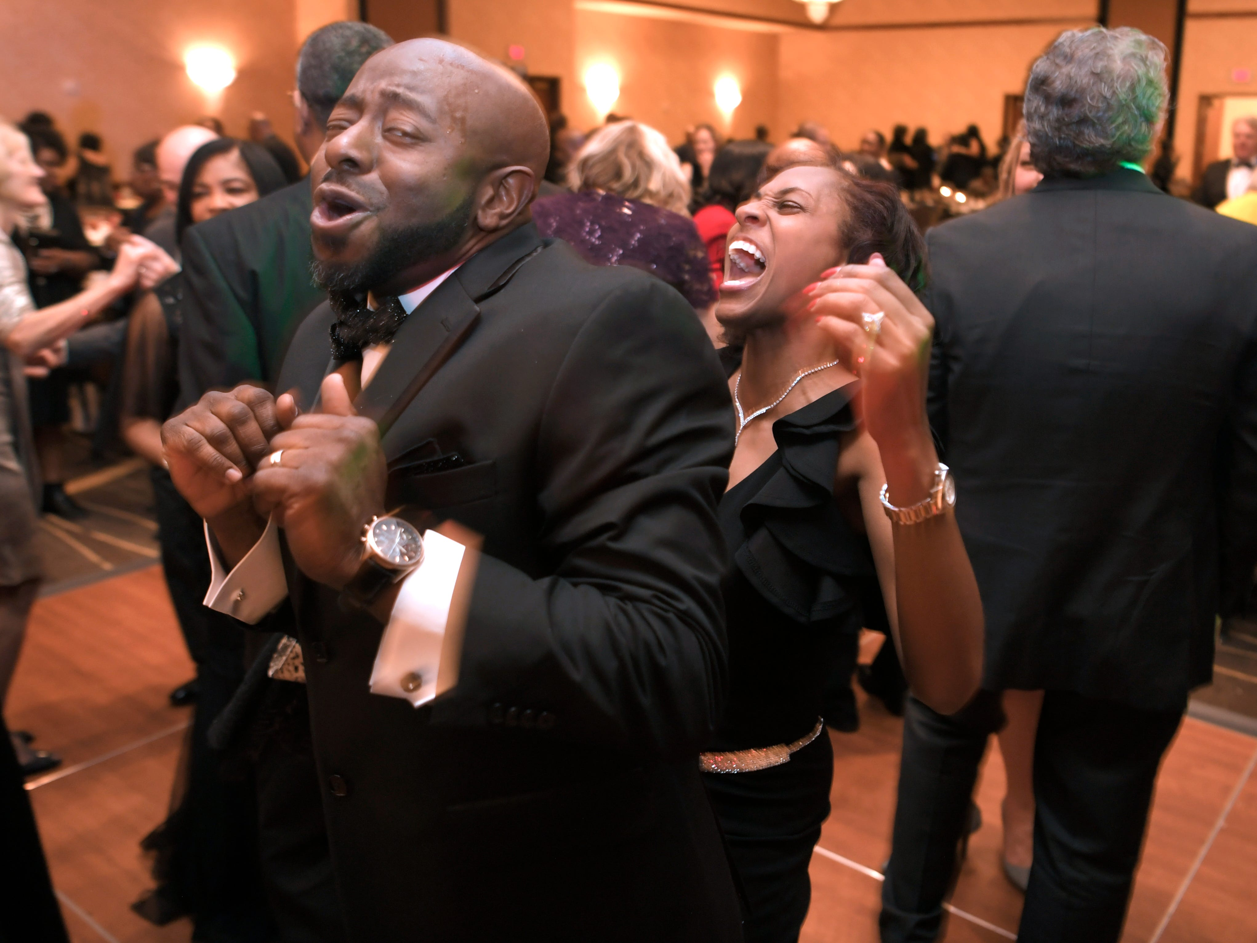 Anthony and Angela Fleming dance together at the African American Heritage Society's 18th Annual Black Tie Affair at the Embassy Suites in Franklin on Sat., Feb. 2, 2019.