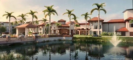 A conceptual rendering of Siena Lakes senior living community planned on nearly 30 acres along the north side of Orange Blossom Drive in North Naples.