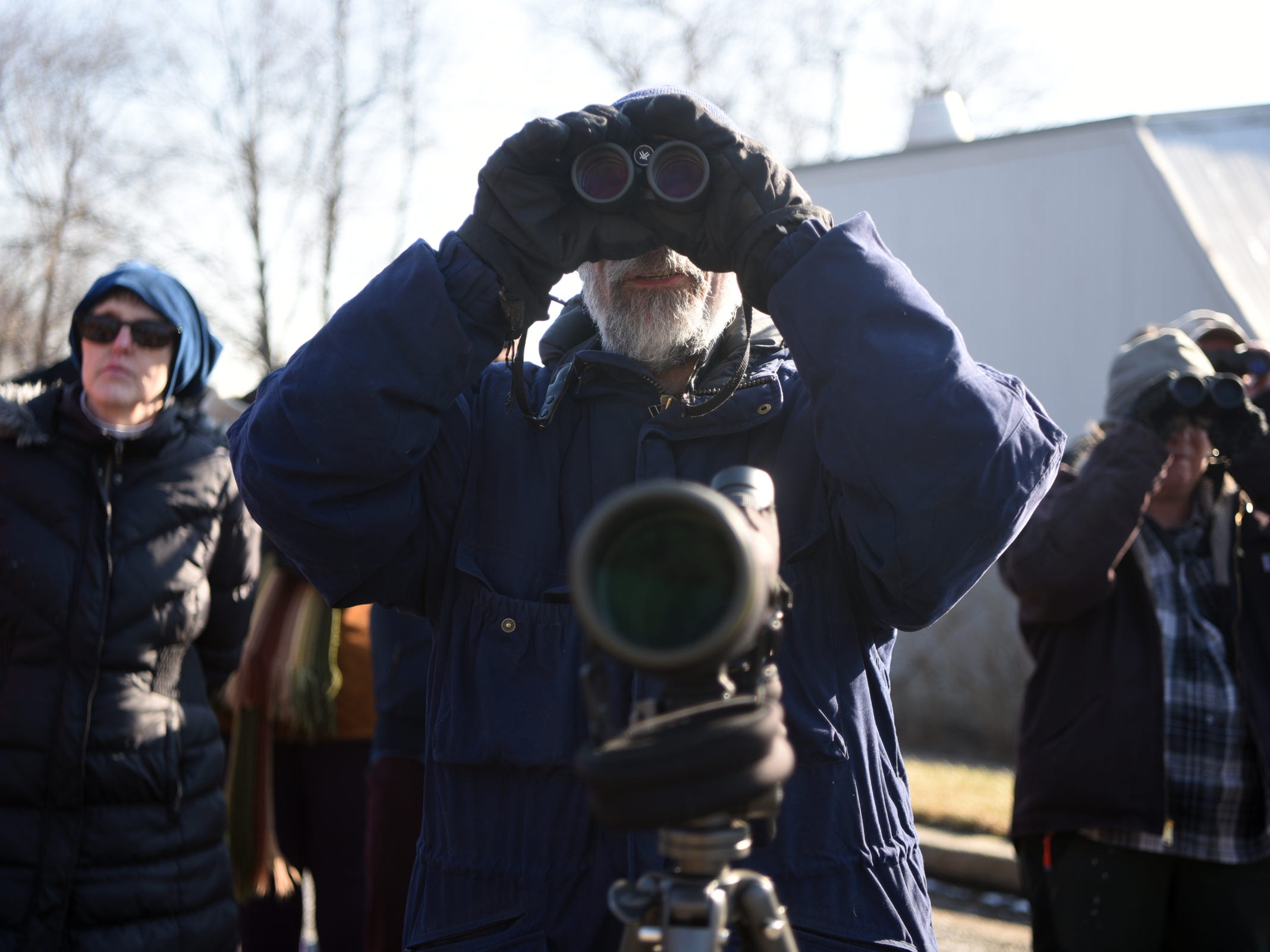Don Torino, center, president of The Bergen County Audubon Society, led a wintering birds and nature walk at Dekorte Park in Lyndhurst on Sunday, February 3, 2019. Prizes were awarded to the first people to spot birds that are also NFL team names.