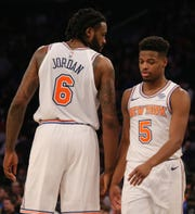 New York Knicks center DeAndre Jordan (6) talks to guard Dennis Smith Jr. (5) during the second quarter against the Memphis Grizzlies at Madison Square Garden.