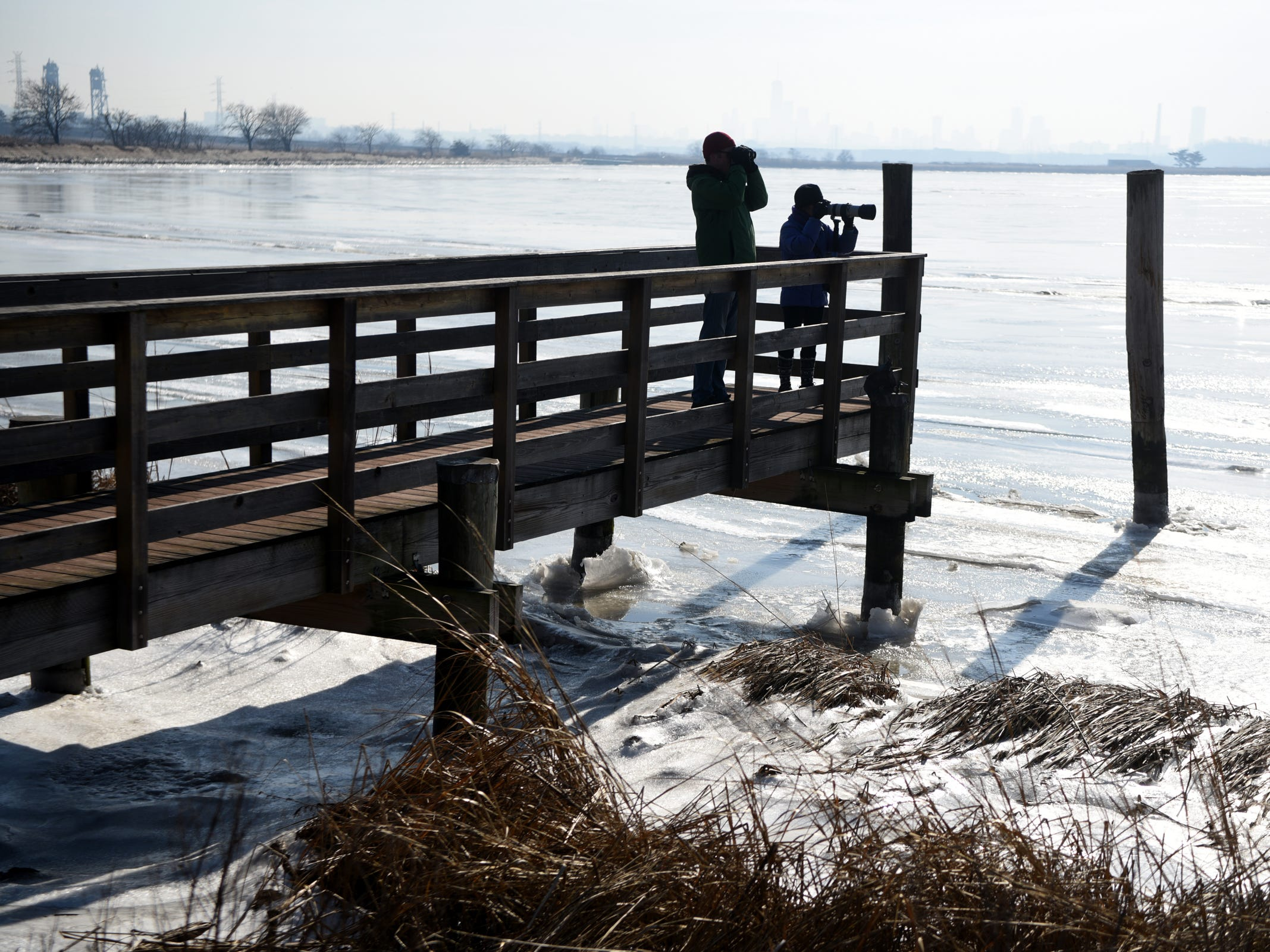 Doug McEachern of Brooklyn, NY uses binoculars to view birds while Mitra Bah of Cliffside Park photographs them during a wintering birds and nature walk hosted by The Bergen County Audubon Society at Dekorte Park in Lyndhurst on Sunday, February 3, 2019.