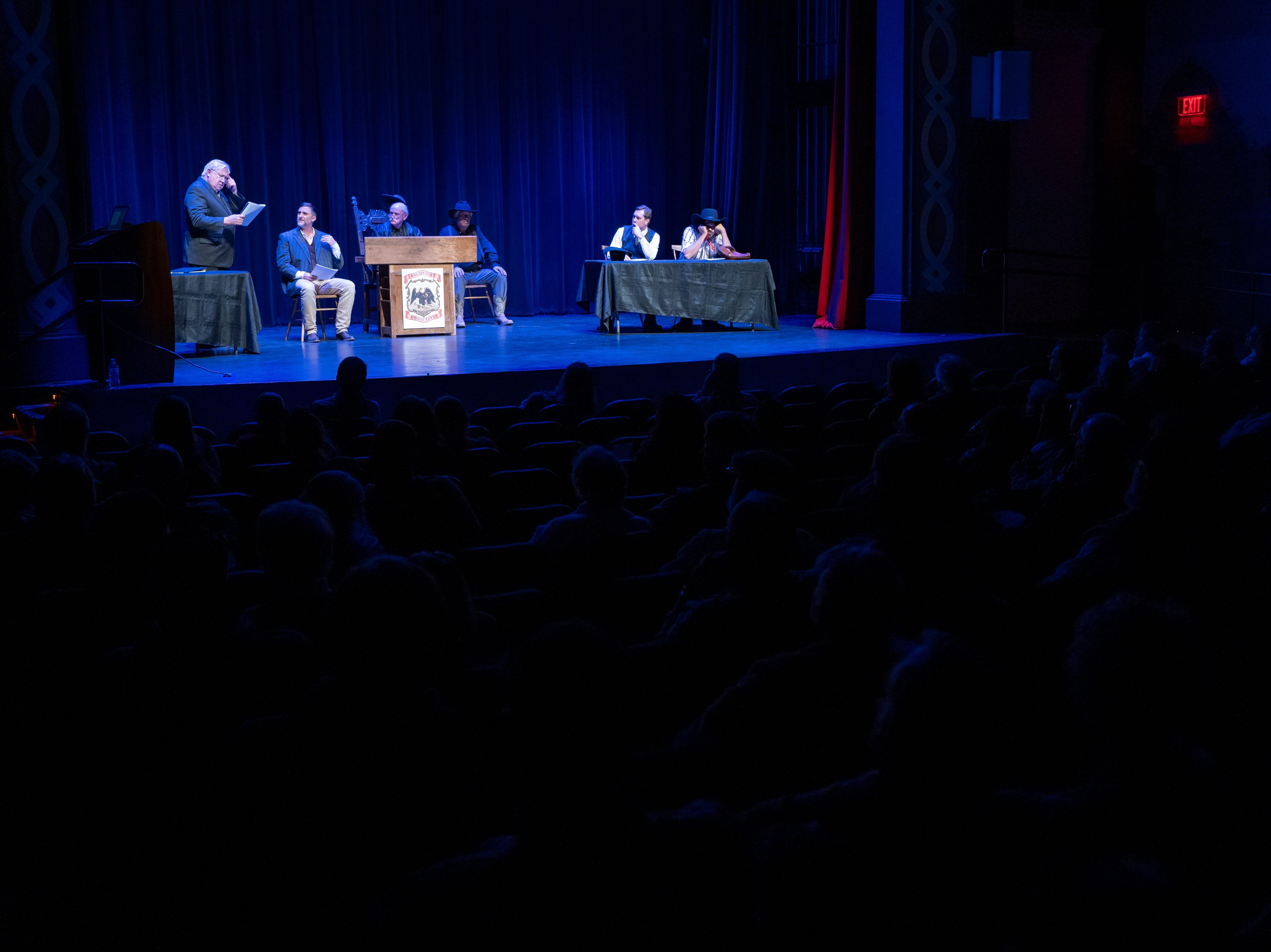 Actors reenact the 1909 trial of Jesse Wayne Brazel, the alleged murderer of Pat Garrett, at the Rio Grande Theatre on Saturday, Feb. 2, 2019. Pictured are John Wood, from left, as New Mexico Attorney General James Hervey; Scott Galbreath as witness for the prosecution Carl Adamson; Bob Gamboa playing Presiding Justice of the Peace Manuel Lopez; Rick Eldridge playing the baliff; Jason Wyatt as Brazel's counsel Herbert Holt; and Mozart Pierson as Jesse Wayne Brazel.