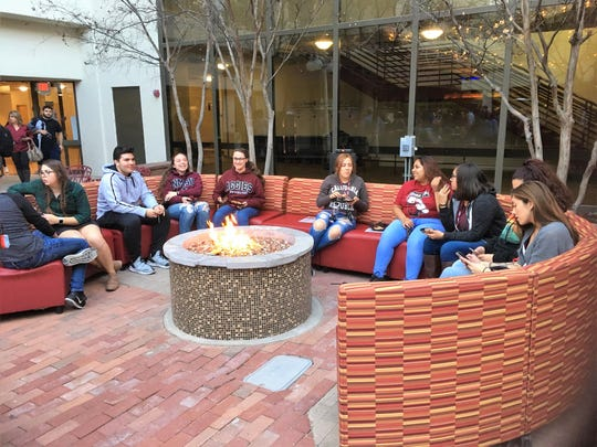 Students attend the opening night party for Pete's Patio, a bar and restaurant that opened at the Corbett Center Student Union in January.