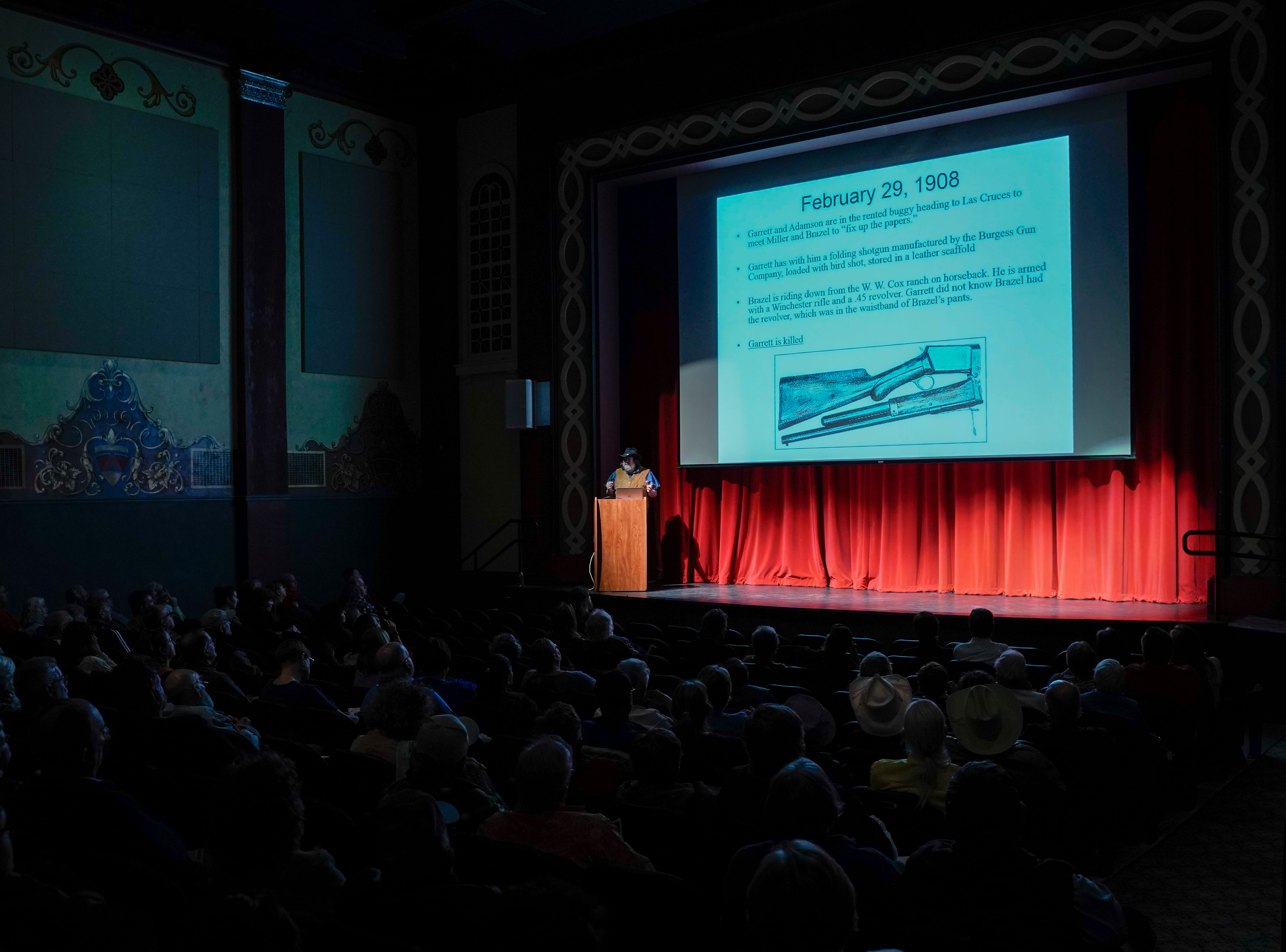David G. Thomas, author and historian, describes the circumstances surrounding Pat Garrett's 1909 murder in the Rio Grande Theatre in downtown Las Cruces, Saturday, Feb. 2, 2019. Many theories have surfaced about who killed Garrett, but most believe it was Jesse Wayne Brazel who pulled the trigger. Brazel was acquitted in a murder trial.