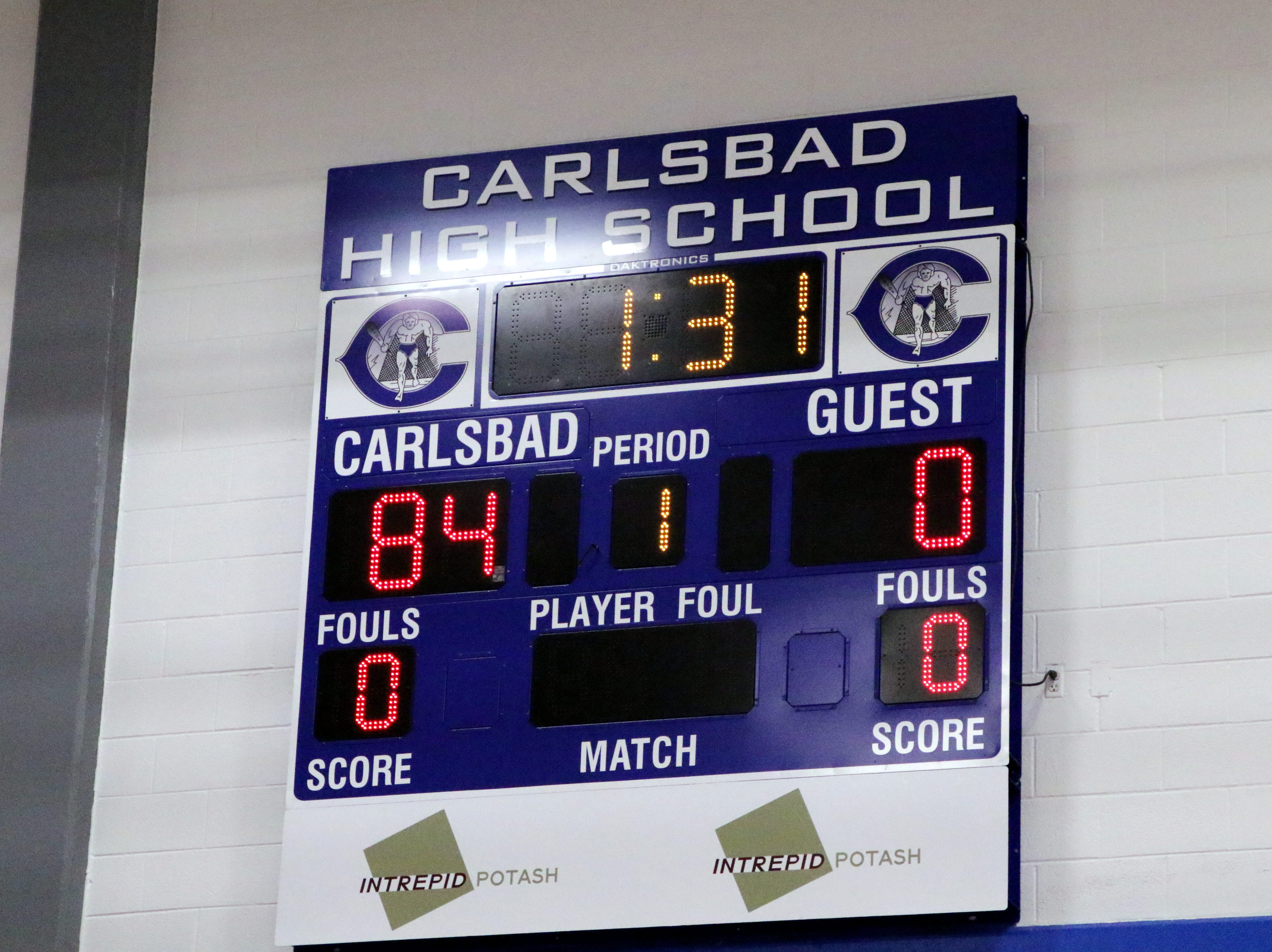 Carlsbad completed a clean sweep of Alamogordo on Feb. 2, 2019, scoring 84 points and tying the school record for maximum points allowed.