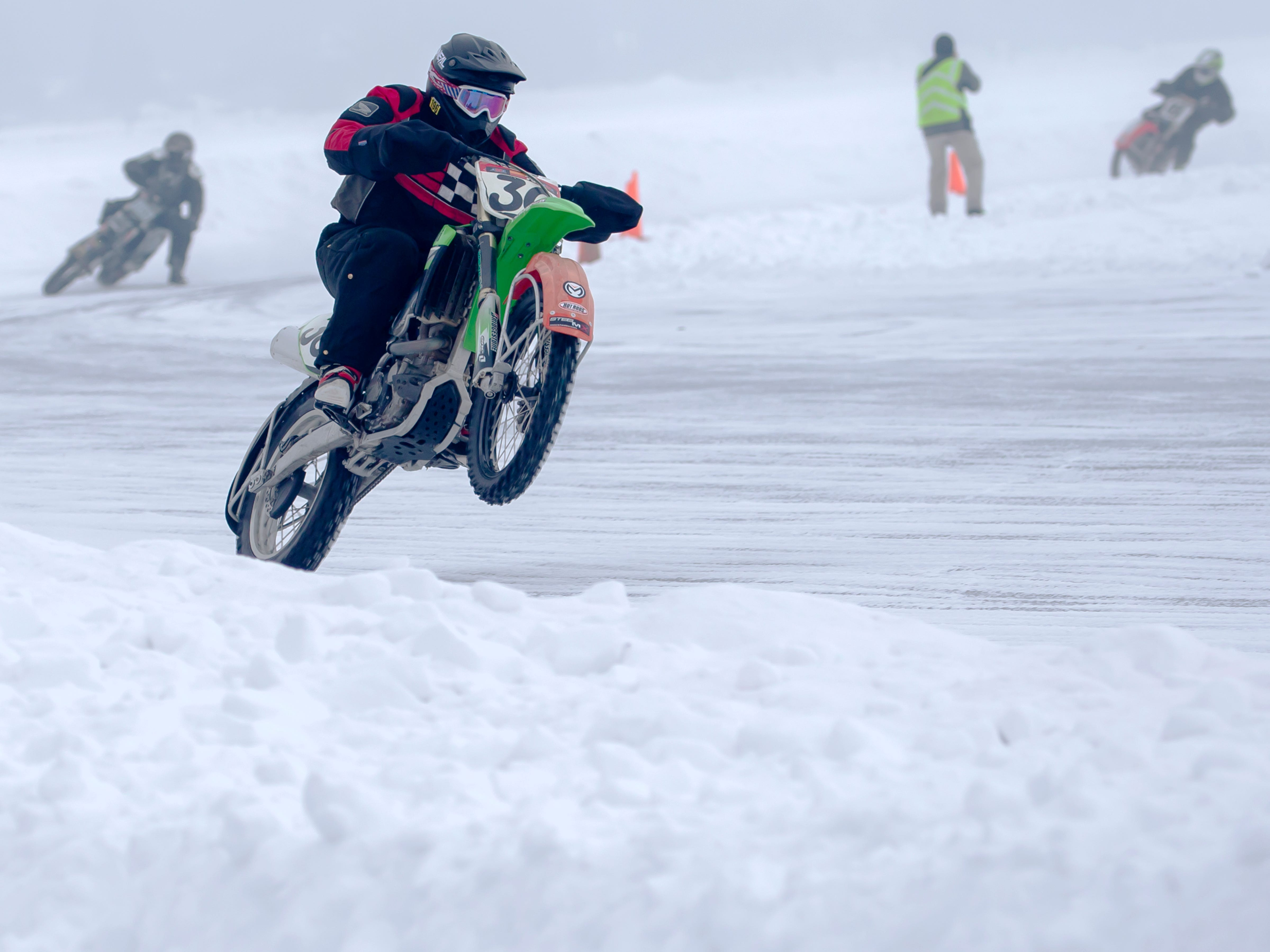 Brock Schwarzenbach of Beaver Dam finishes first in a class during the races held at the Otter Street Fishing Club Winter Fisheree at Miller's Bay in Menominee Park on Saturday, Feb. 2, 2019.