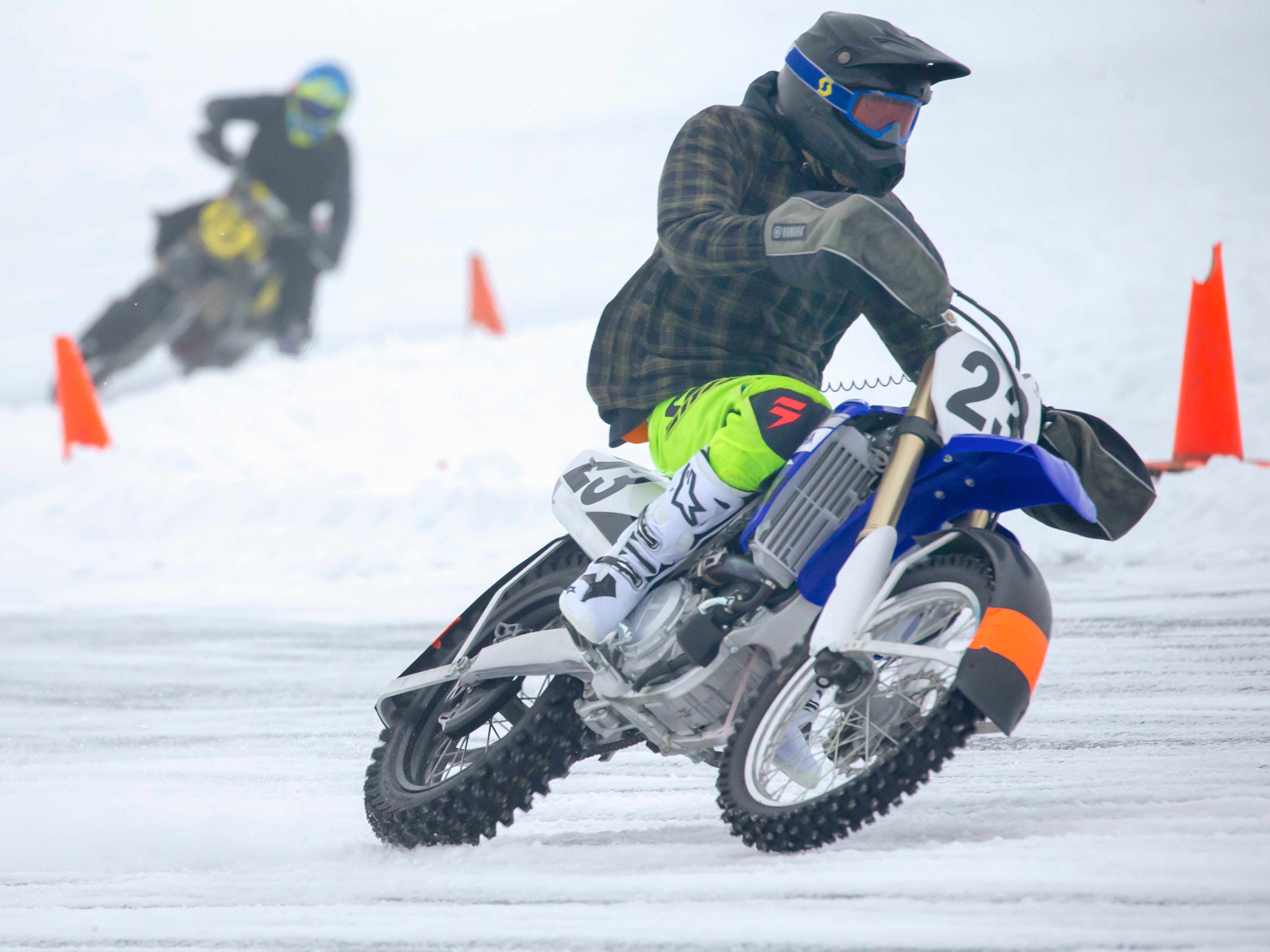 Jake Drummond of Oshkosh placed second in the 450 TT Main racing during the Otter Street Fishing Club Winter Fisheree at Miller's Bay in Menominee Park on Saturday, Feb. 2, 2019.