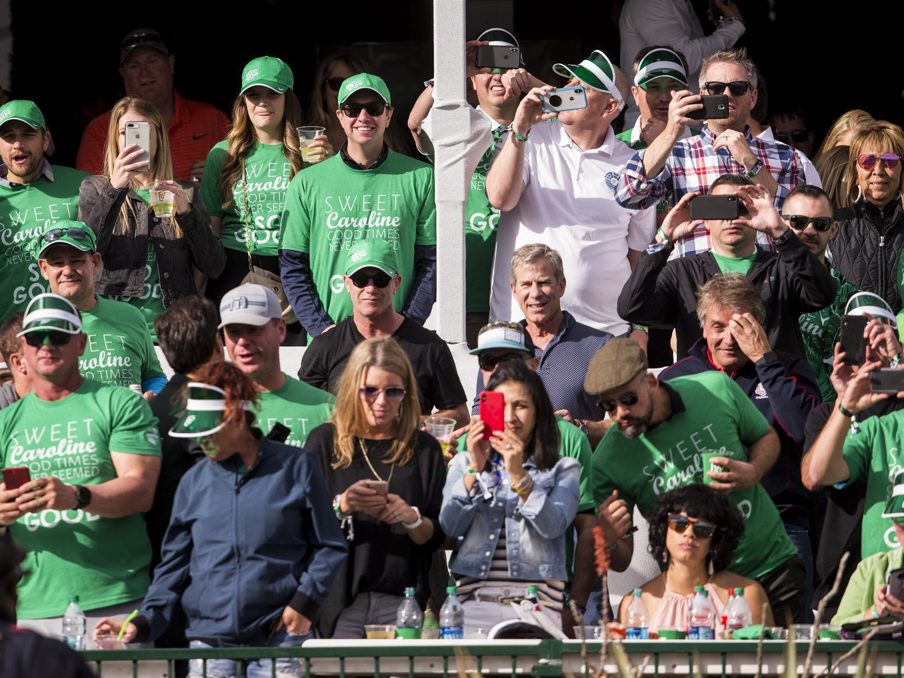 Fans watch on the 16th hole during Round 3 of the Waste Management Phoenix Open on Saturday, Feb. 2, 2019, at TPC Scottsdale in Scottsdale, Ariz.