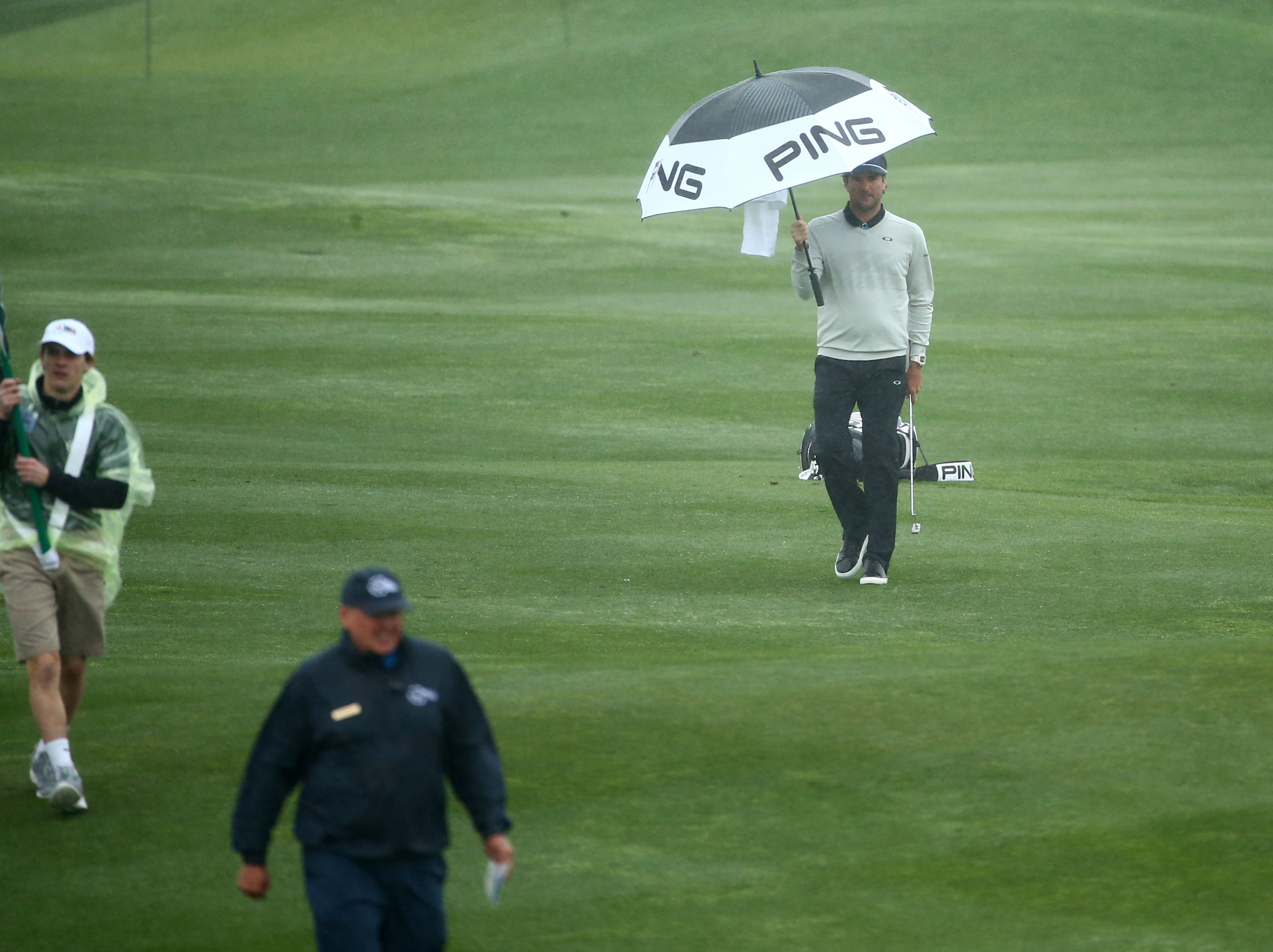 Bubba Watson walks to the 6th green during final round action on Feb. 3 during the Waste Management Phoenix Open at the TPC Scottsdale Stadium Course.