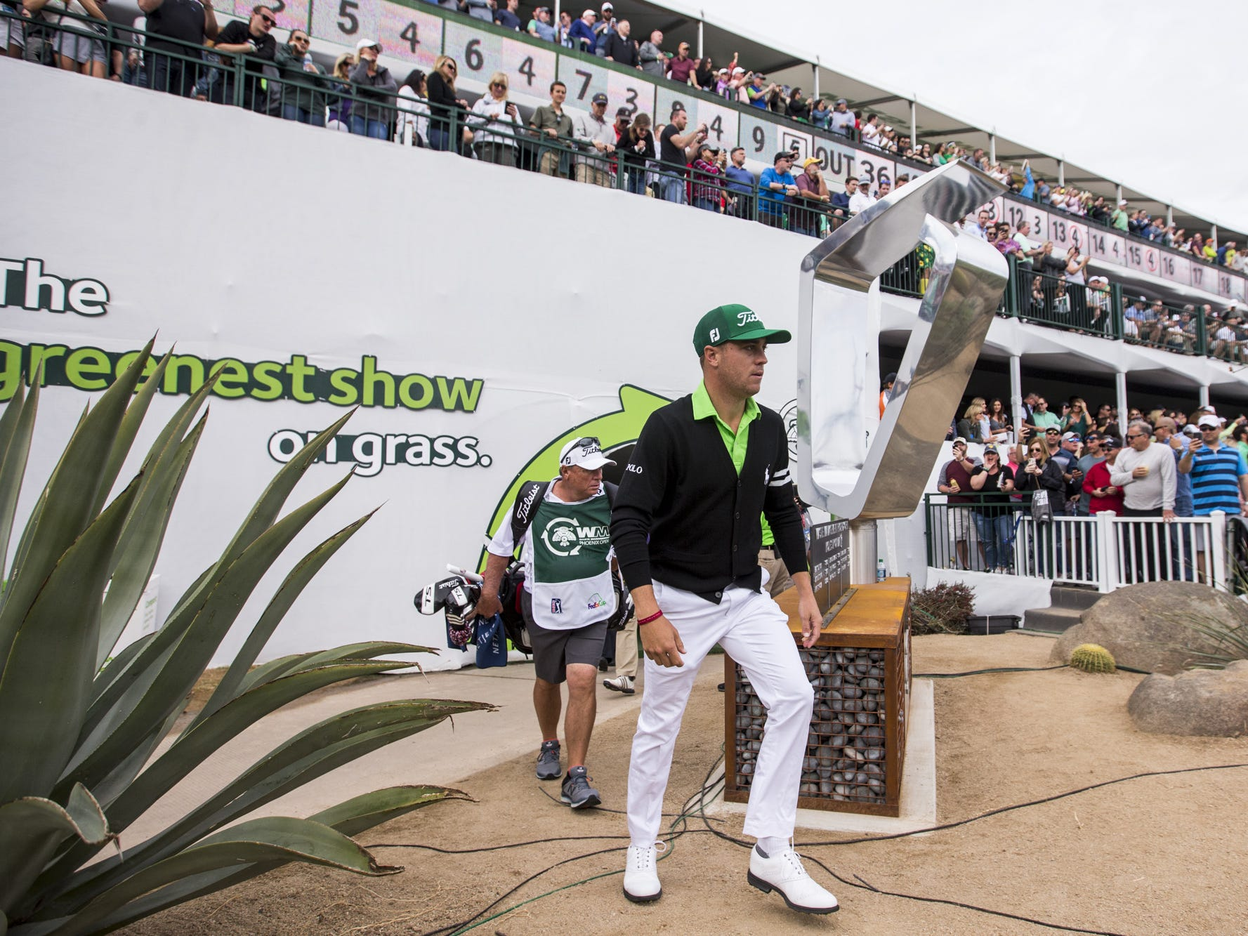 Justin Thomas walks to the 16th hole tee box during Round 3 of the Waste Management Phoenix Open on Saturday, Feb. 2, 2019, at TPC Scottsdale in Scottsdale, Ariz.