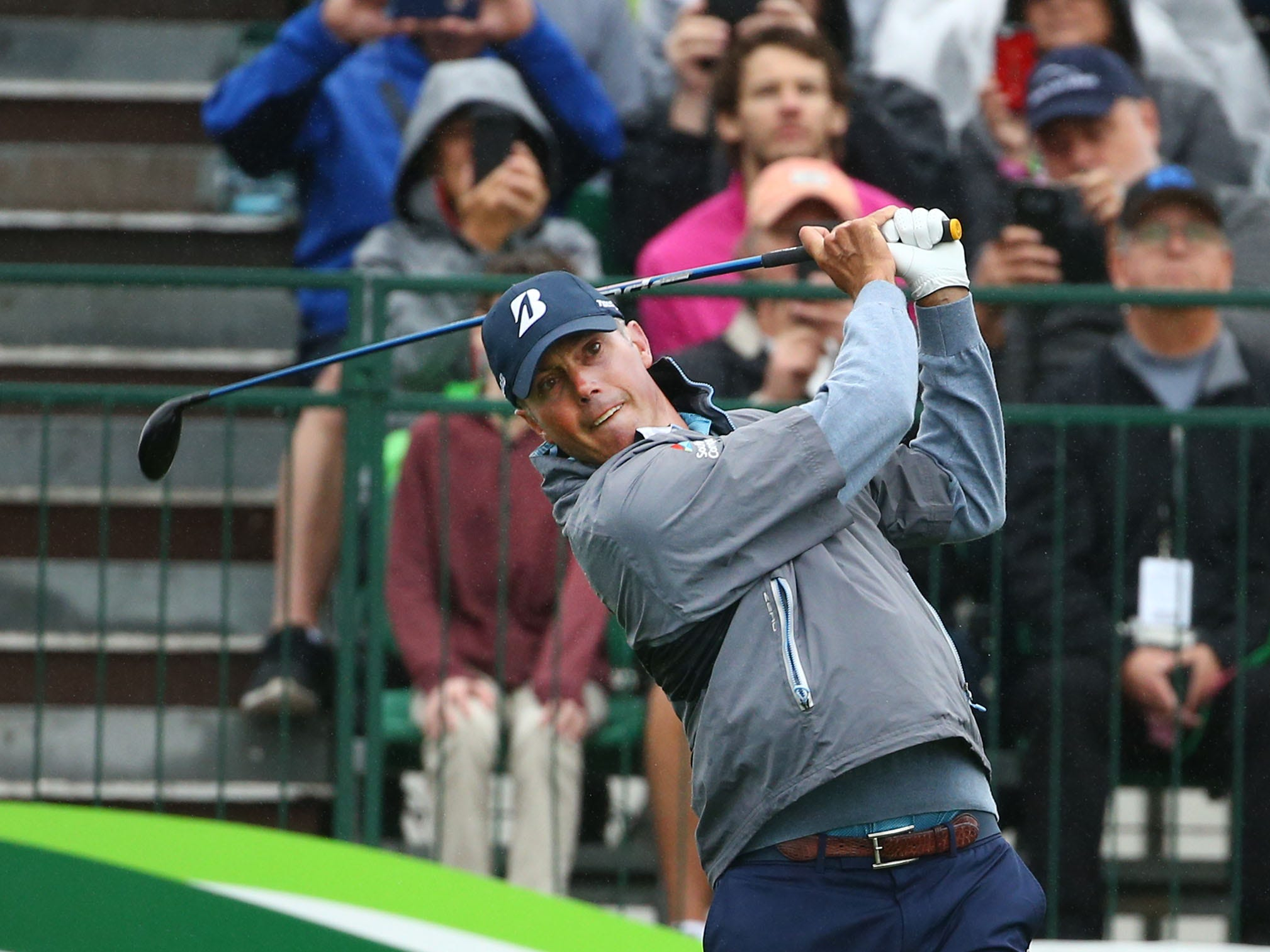 Matt Kuchar hits his tee shot on the first hole during final round action on Feb. 3 during the Waste Management Phoenix Open at the TPC Scottsdale Stadium Course.