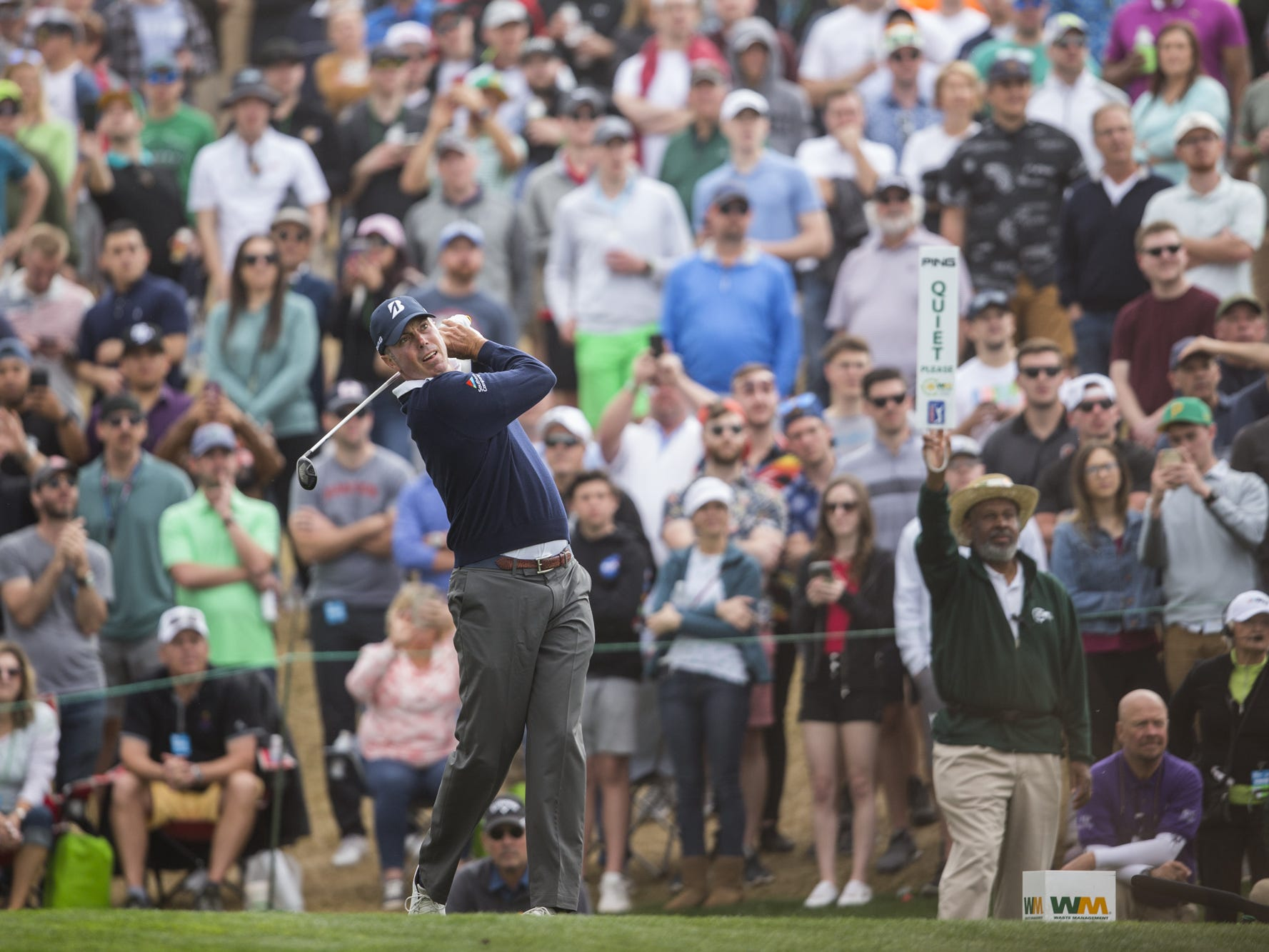 Matt Kuchar tees off on the 7th hole during Round 3 of the Waste Management Phoenix Open on Saturday, Feb. 2, 2019, at TPC Scottsdale in Scottsdale, Ariz.