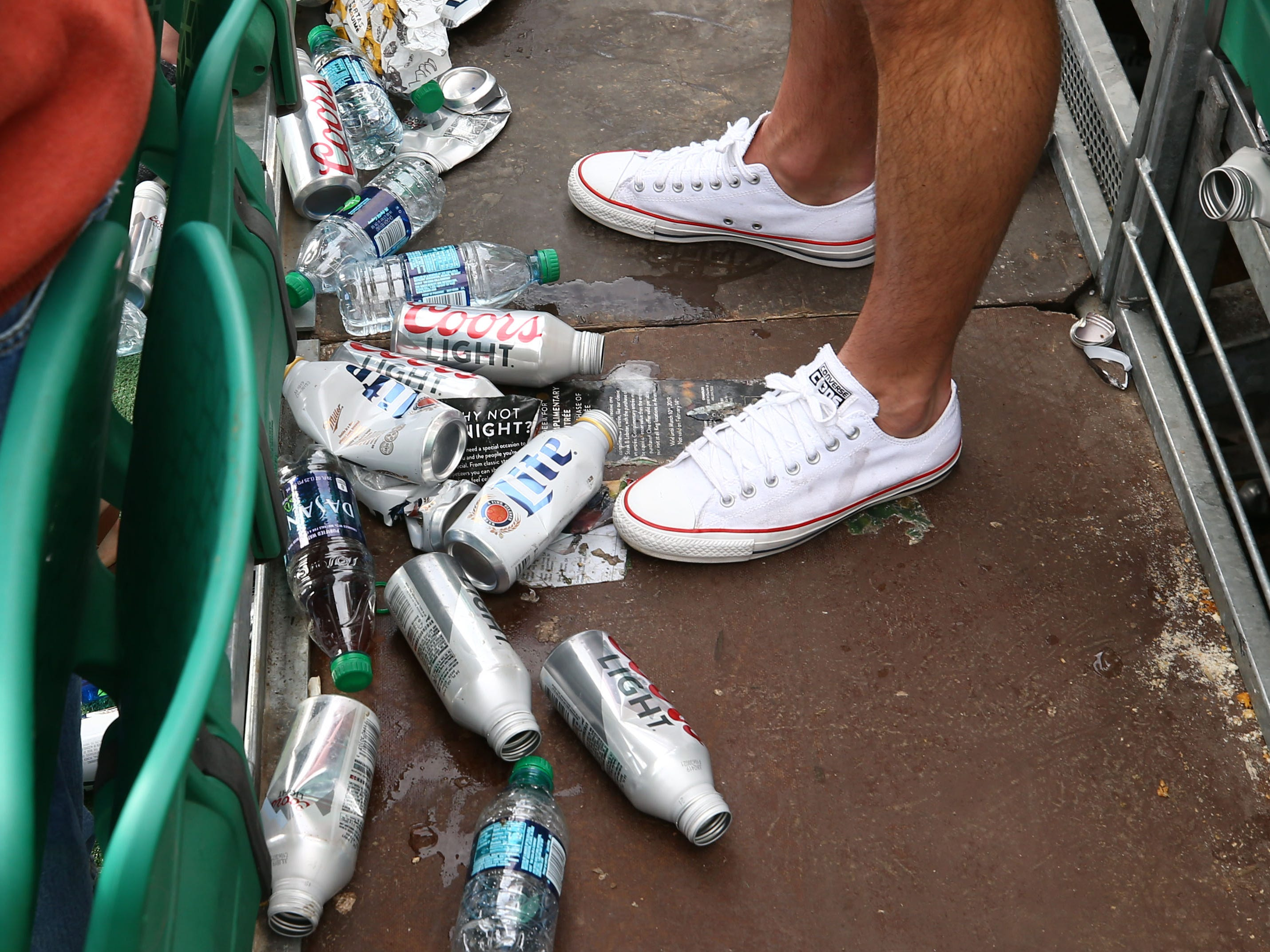 Trash in the stands on the 16th hole during third round action on Feb. 2 during the Waste Management Phoenix Open at the TPC Scottsdale Stadium Course.