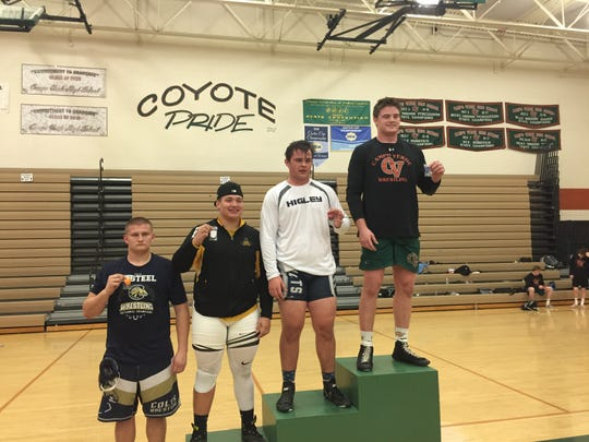 Feb. 2, 2019; Trevor Kauer wins first place in the 285-pound weight class in Division II, Section 4 in the state sectionals
