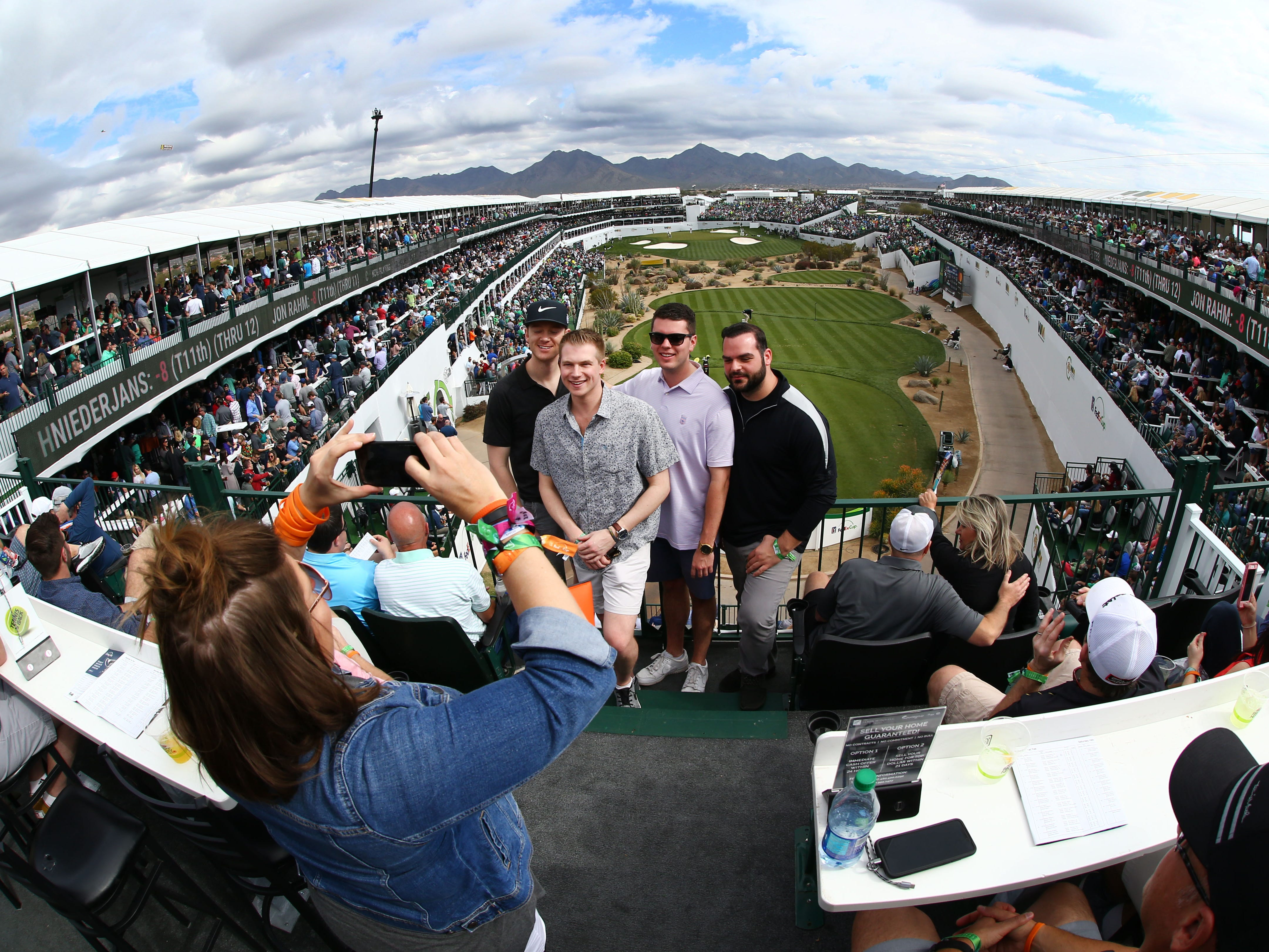 Corporate suite guests get a third story, first class view of the infamous par-3, 16th hole during third round action on Feb. 2 during the Waste Management Phoenix Open at the TPC Scottsdale Stadium Course.